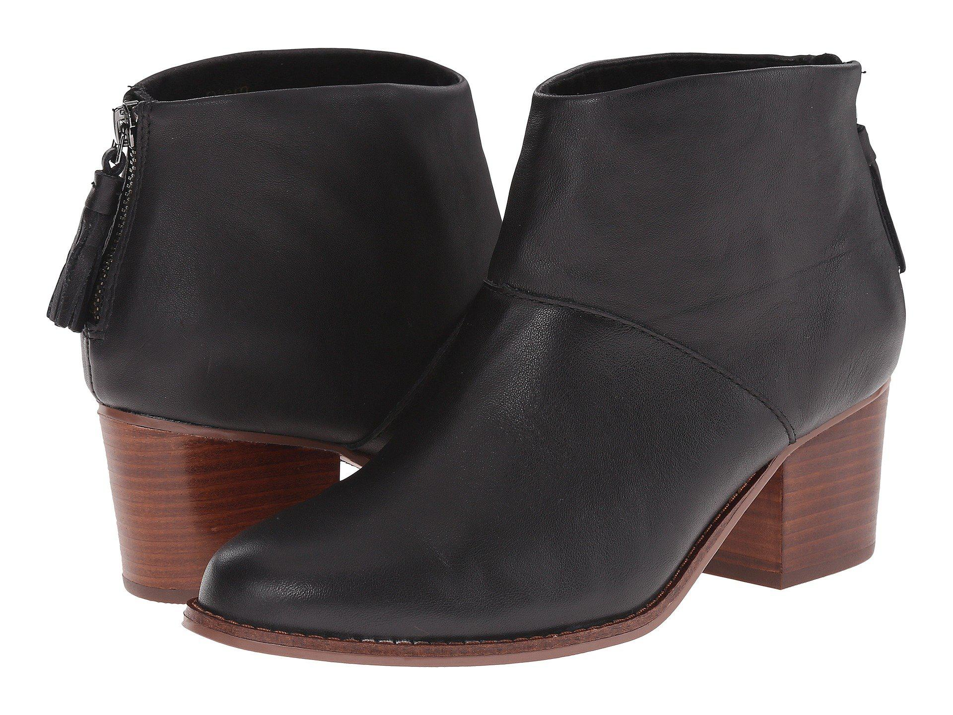 Leila Leather Back Zip Block Heel Booties OtmnMyd
