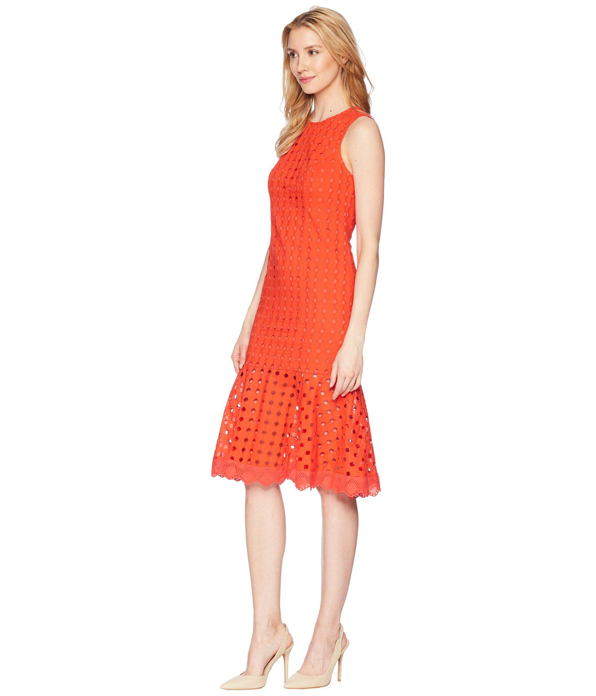 Lyst Donna Morgan Sleeveless Eyelet Midi Dress With Flounce Skirt In Red Save 34 736842105263165