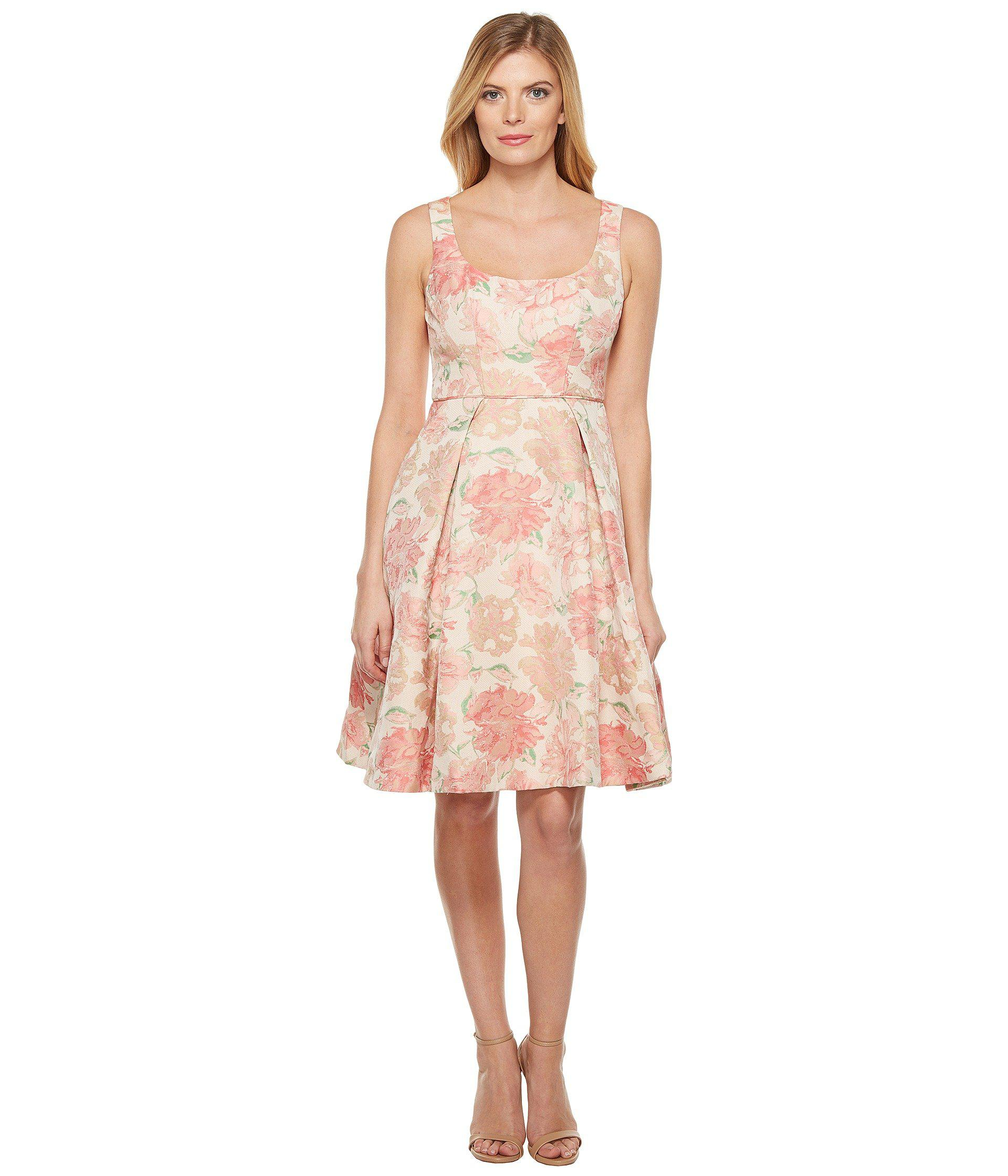 ae3682b1203bd Lyst - Maggy London Jacquard Bloom Fit And Flare in Pink - Save 40%
