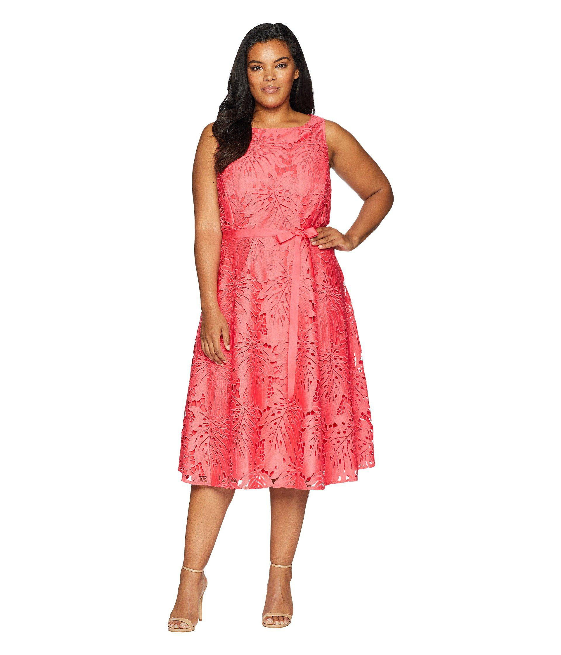 b6ff78a70b5 Tahari Plus Size Sleeveless Chemical Lace Fit And Flare Midi in Red ...