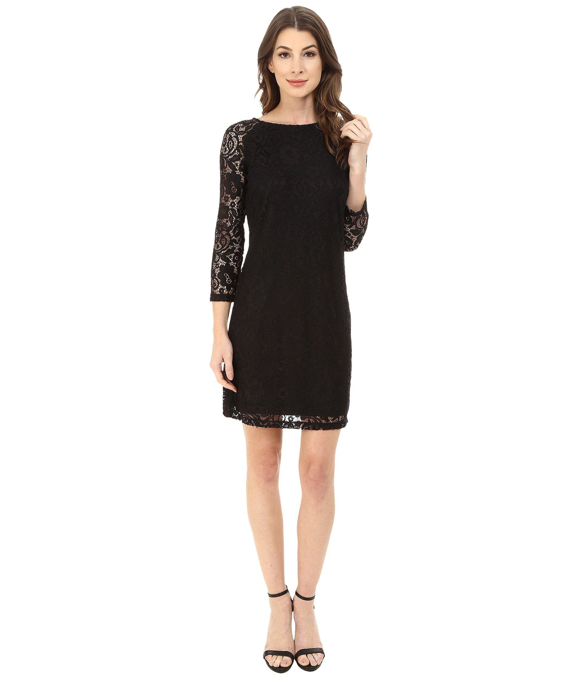 Lyst - Laundry by Shelli Segal Lace T-body Dress in Black - Save 50% 27ee0348feec