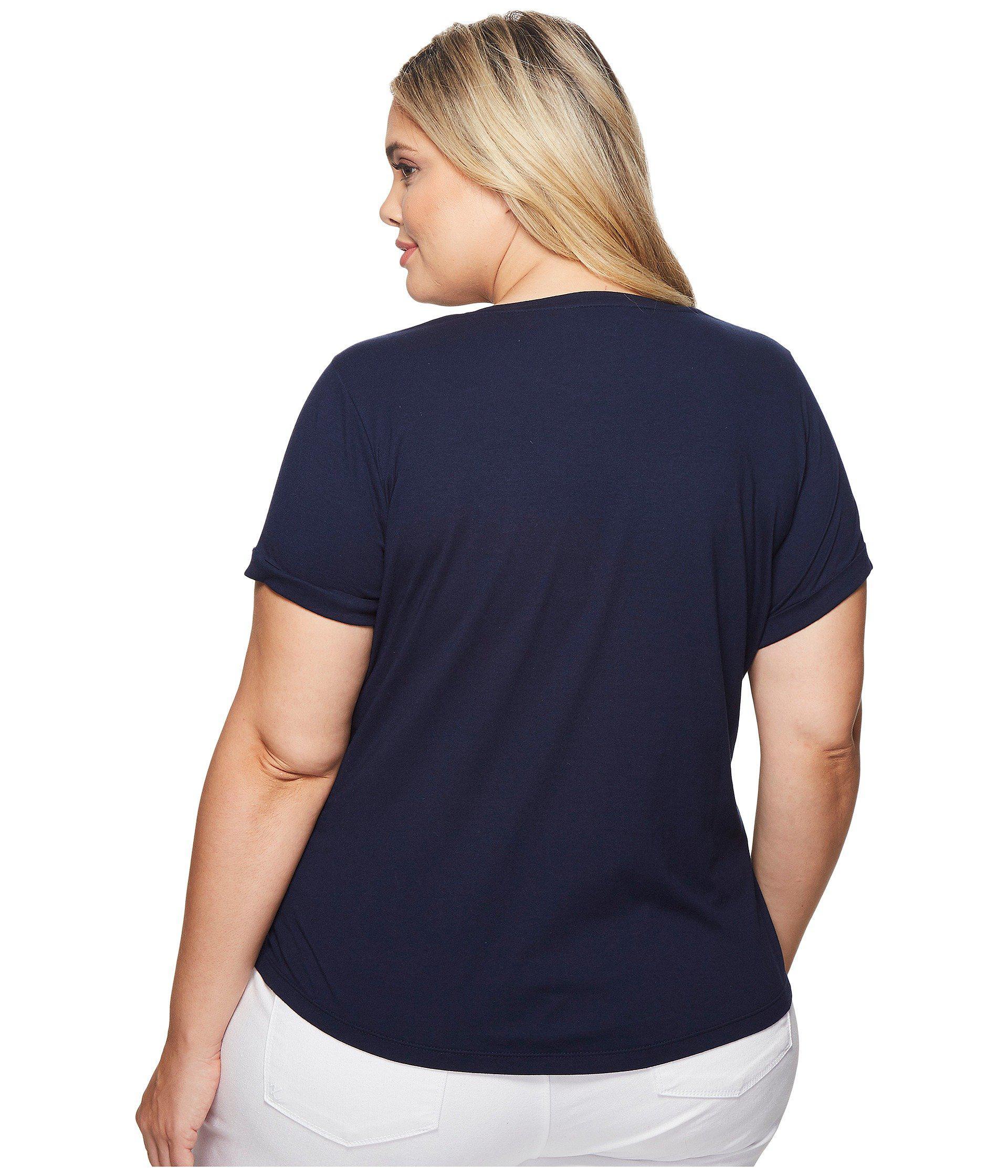 881a71243d5b4 Lyst - Lauren by Ralph Lauren Plus Size Bullion-patch Cotton T-shirt ...