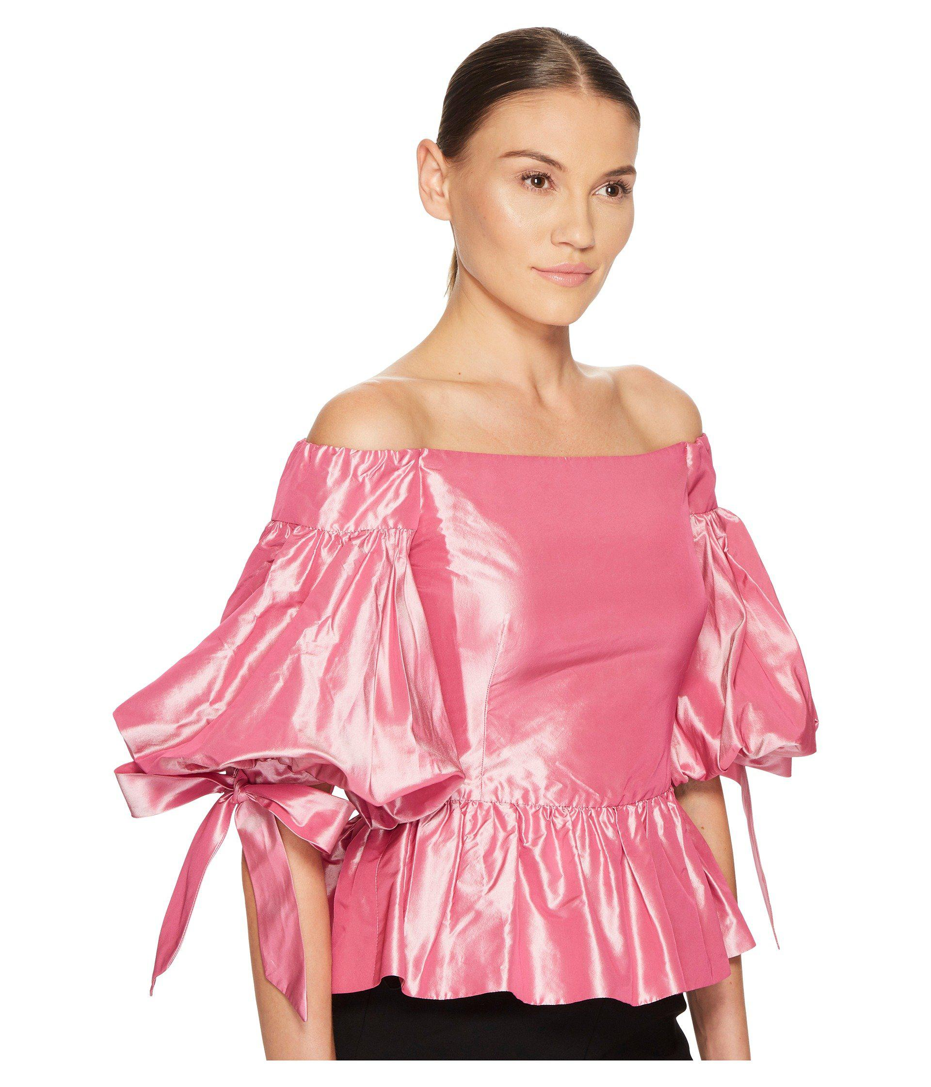 f06ae885d8c6b Marchesa - Pink Solid Off The Shoulder Peplum Top In Taffeta - Lyst. View  fullscreen