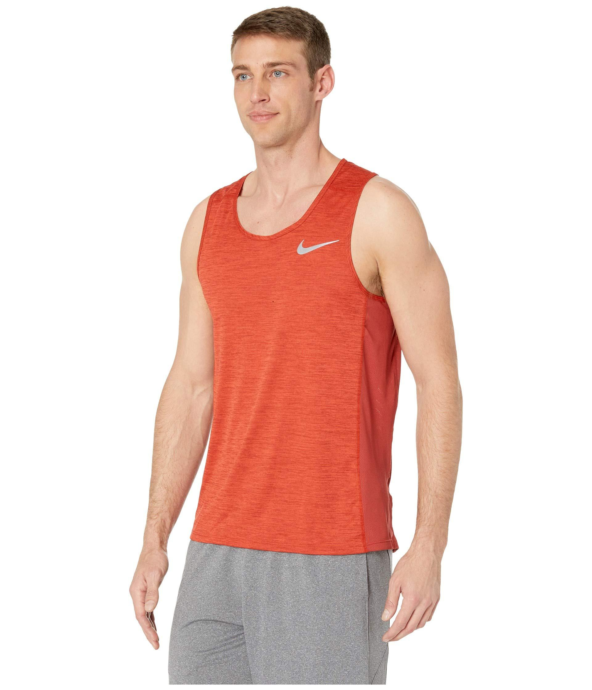 320ffd3befaa1f Lyst - Nike Dry Miler Running Tank in Red for Men - Save 21%