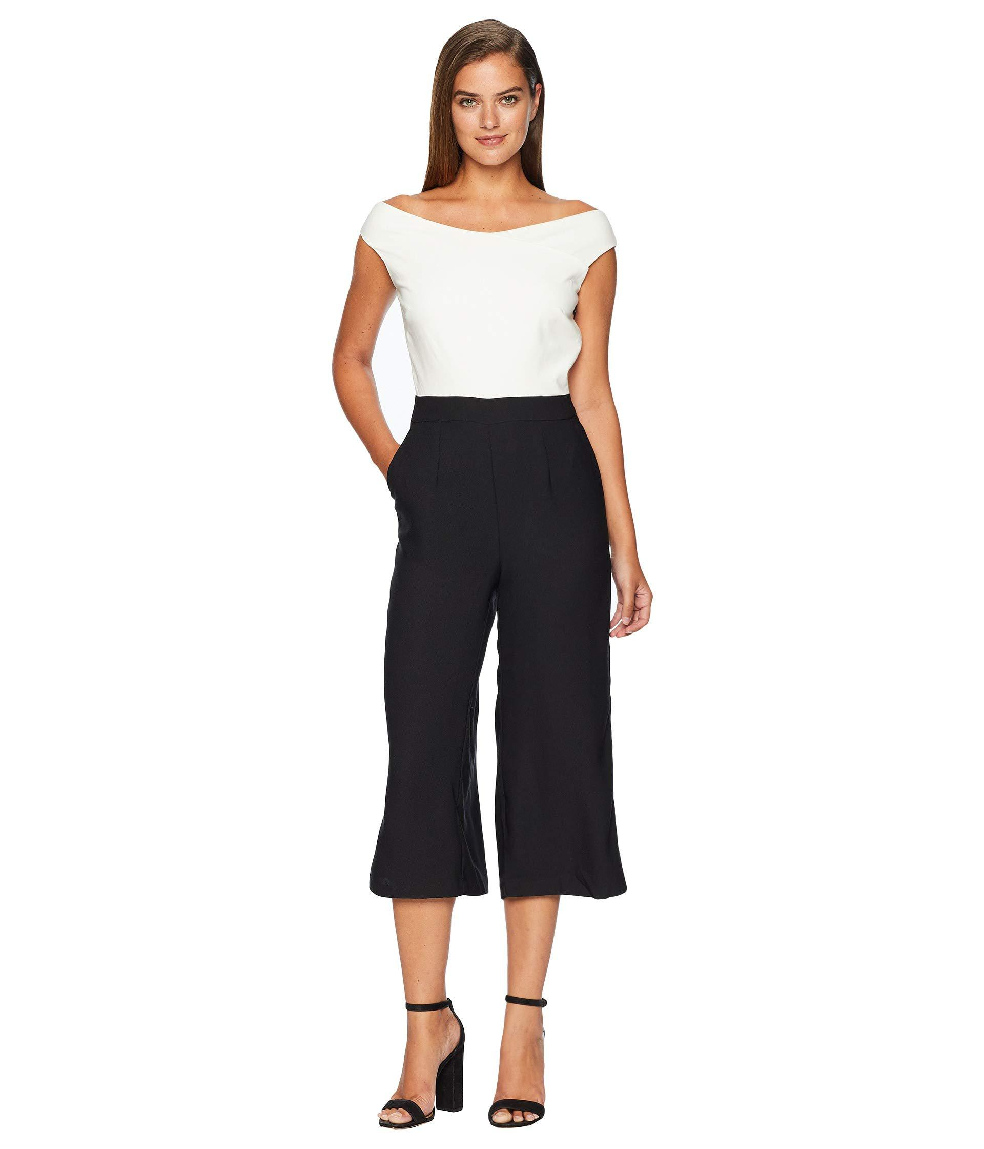 62996114afc476 Catherine Malandrino. Women s Black Off The Shoulder Cropped Jumpsuit