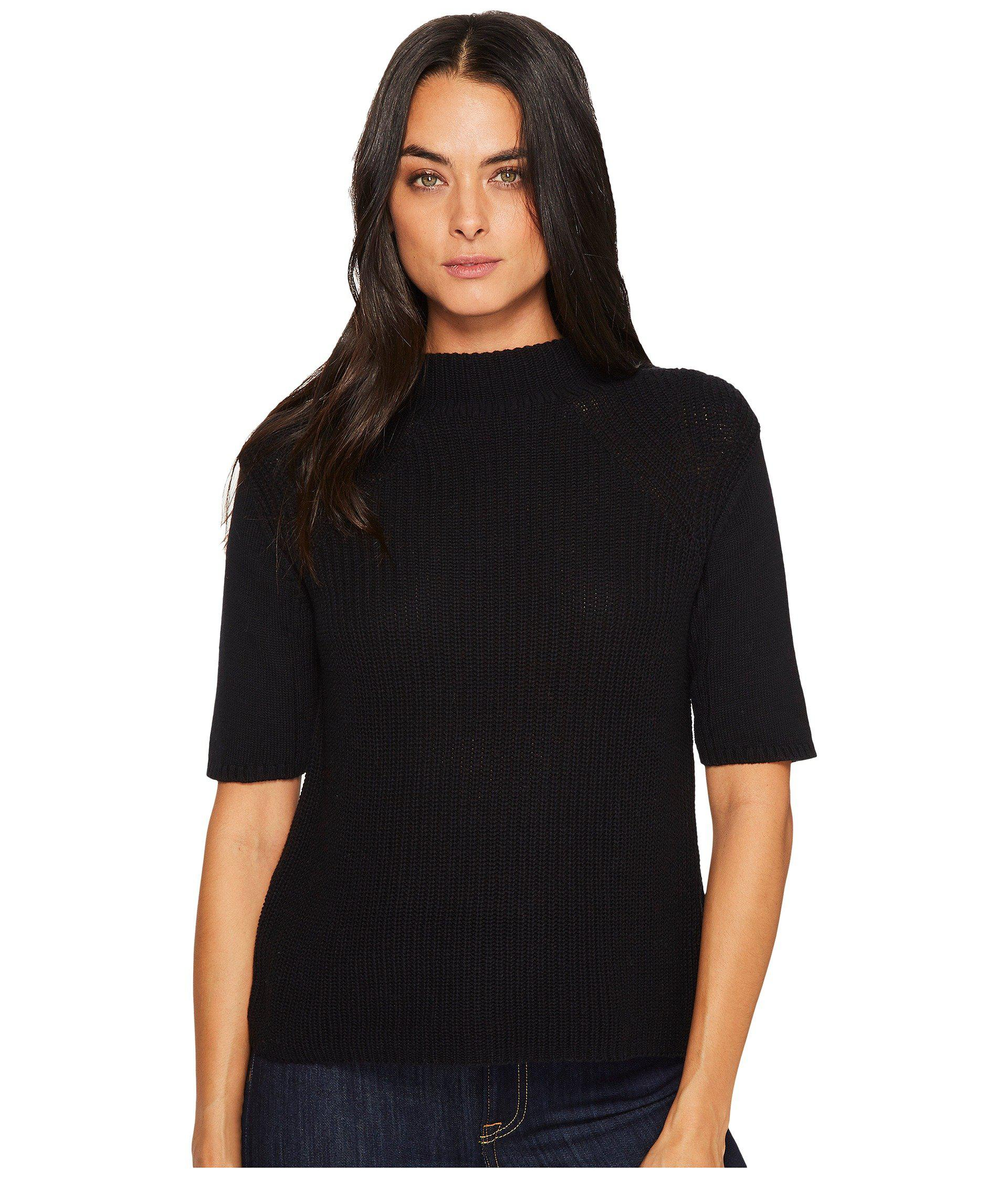1f5b9cfd319 Lyst - Michael Stars Cotton Knit Elbow Sleeve Mock Neck in Black