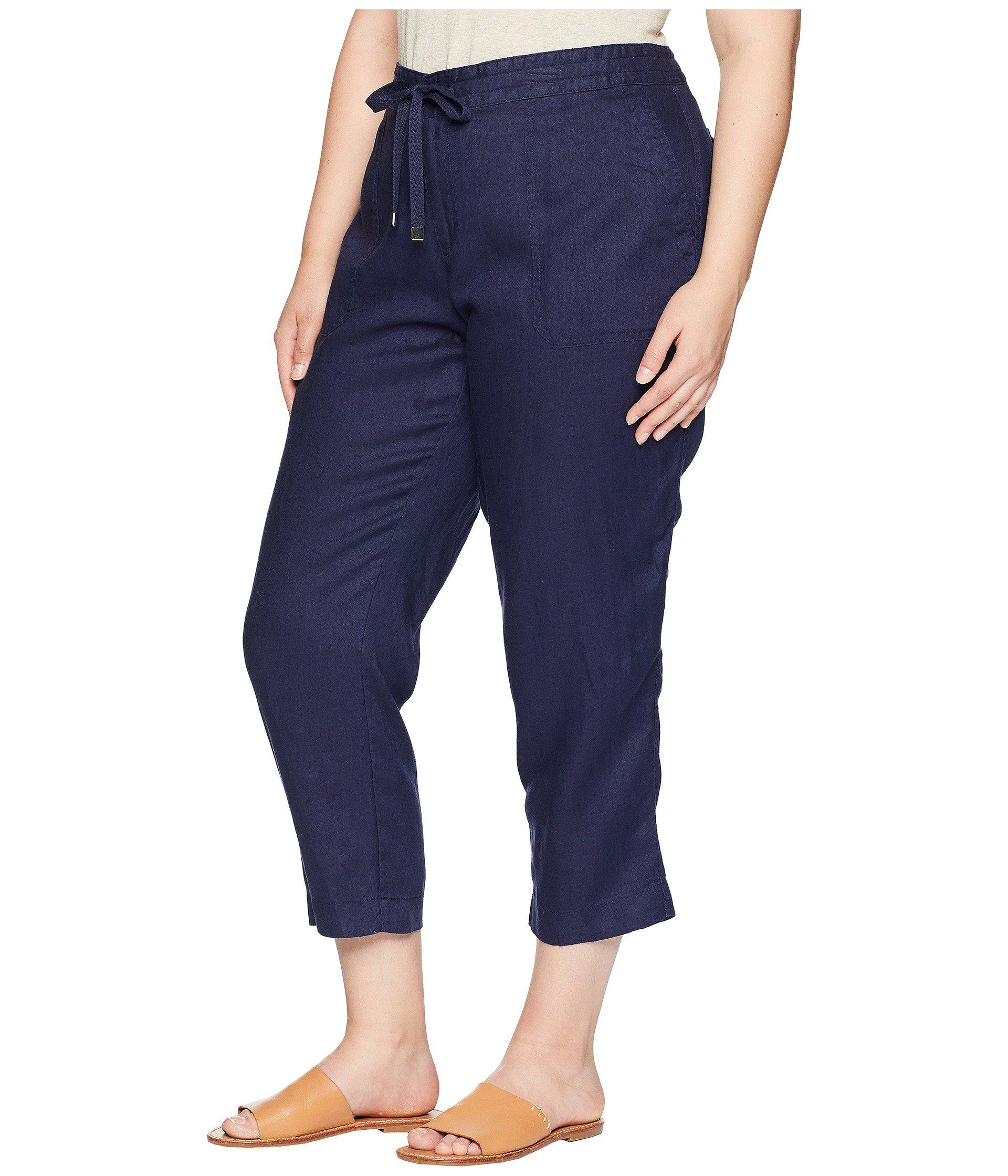 505c2e0a4 Lyst - Lauren by Ralph Lauren Plus Size Straight Linen Pants in Blue - Save  43%