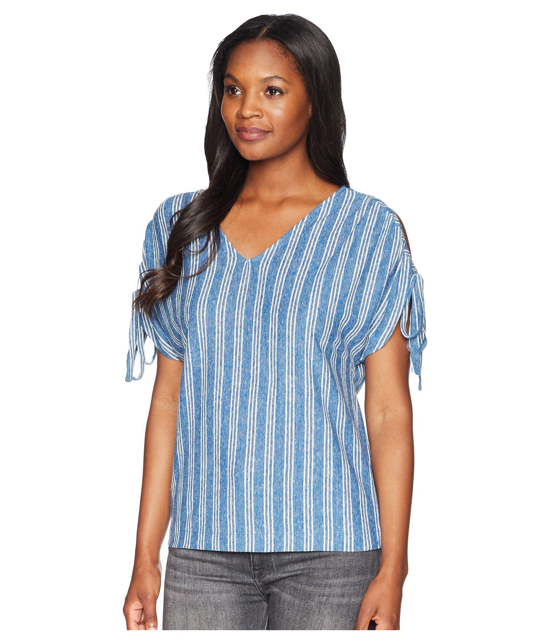 240fd3afad548 Lyst - Lucky Brand Stripe Tie Shoulder Top in Blue - Save 25%