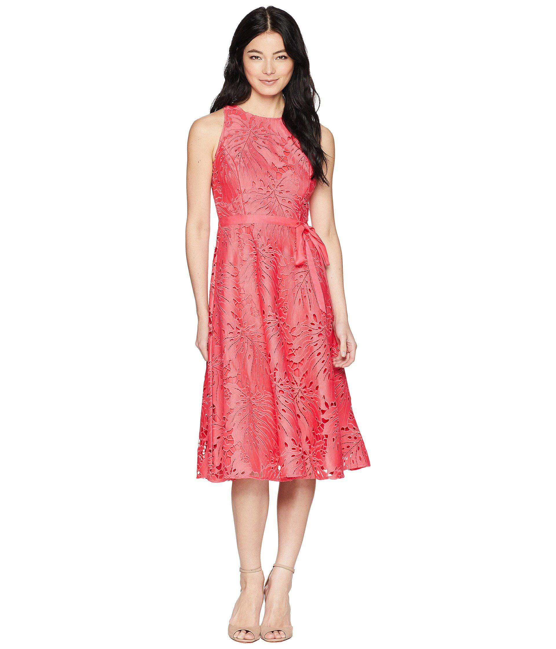 50ed4db2a82 Lyst - Tahari Petite Sleeveless Chemical Lace Fit And Flare Midi in ...