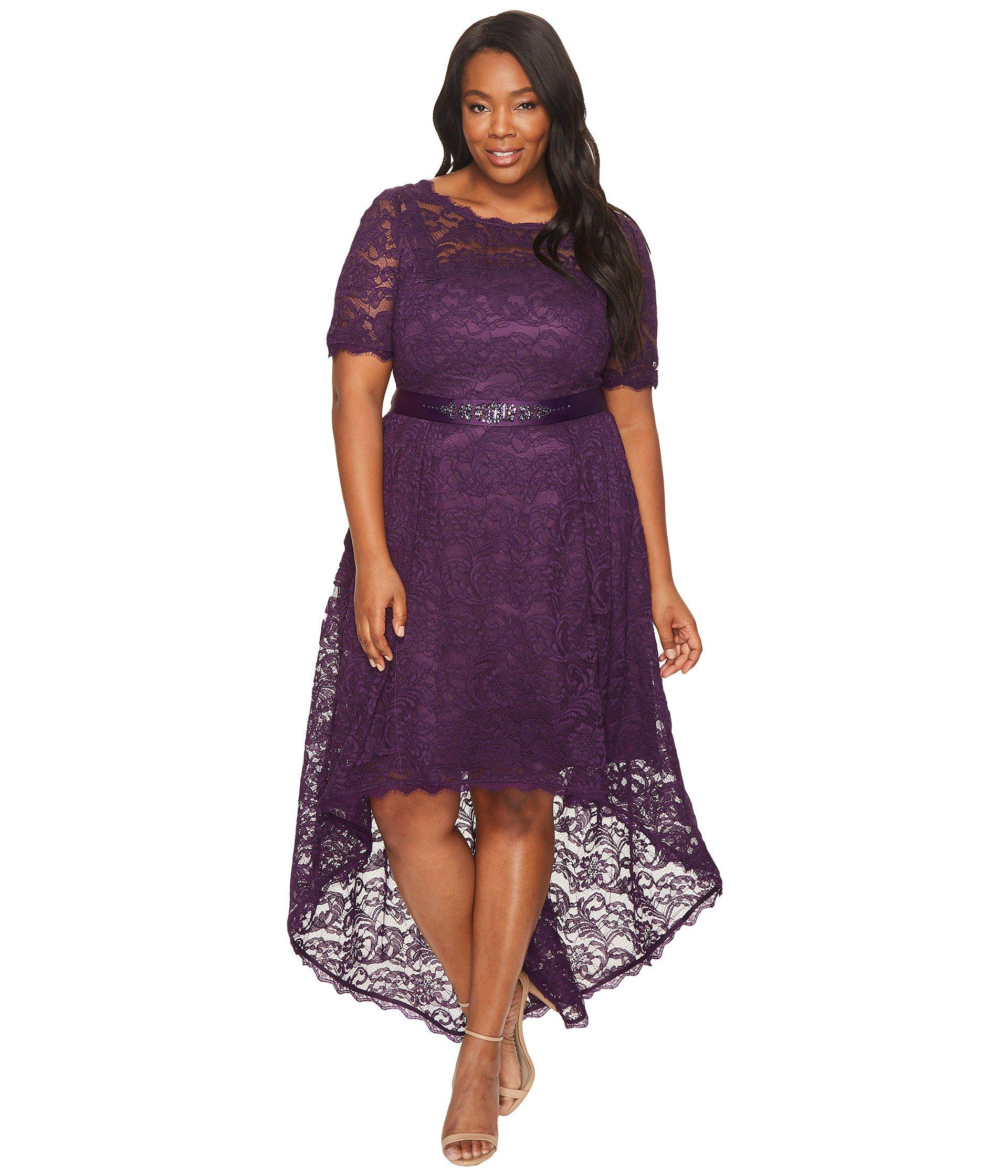 69eaf8ec6c4 Lyst - Adrianna Papell Plus Size Short Sleeve Lace Dress With High ...