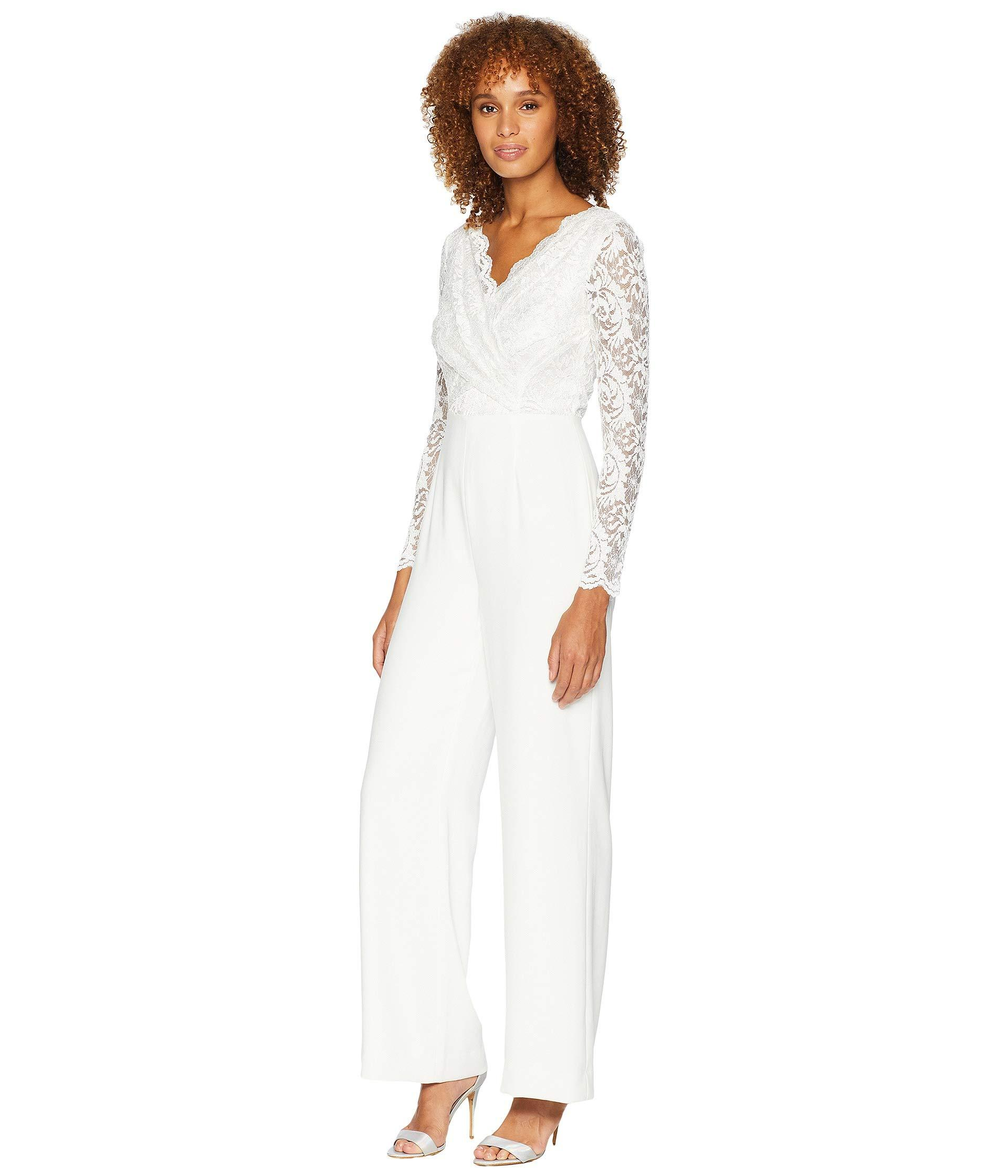 345c206449 Lyst - Tahari Long Sleeve Crepe sequin Lace Jumpsuit With V-neckline in  White - Save 38%
