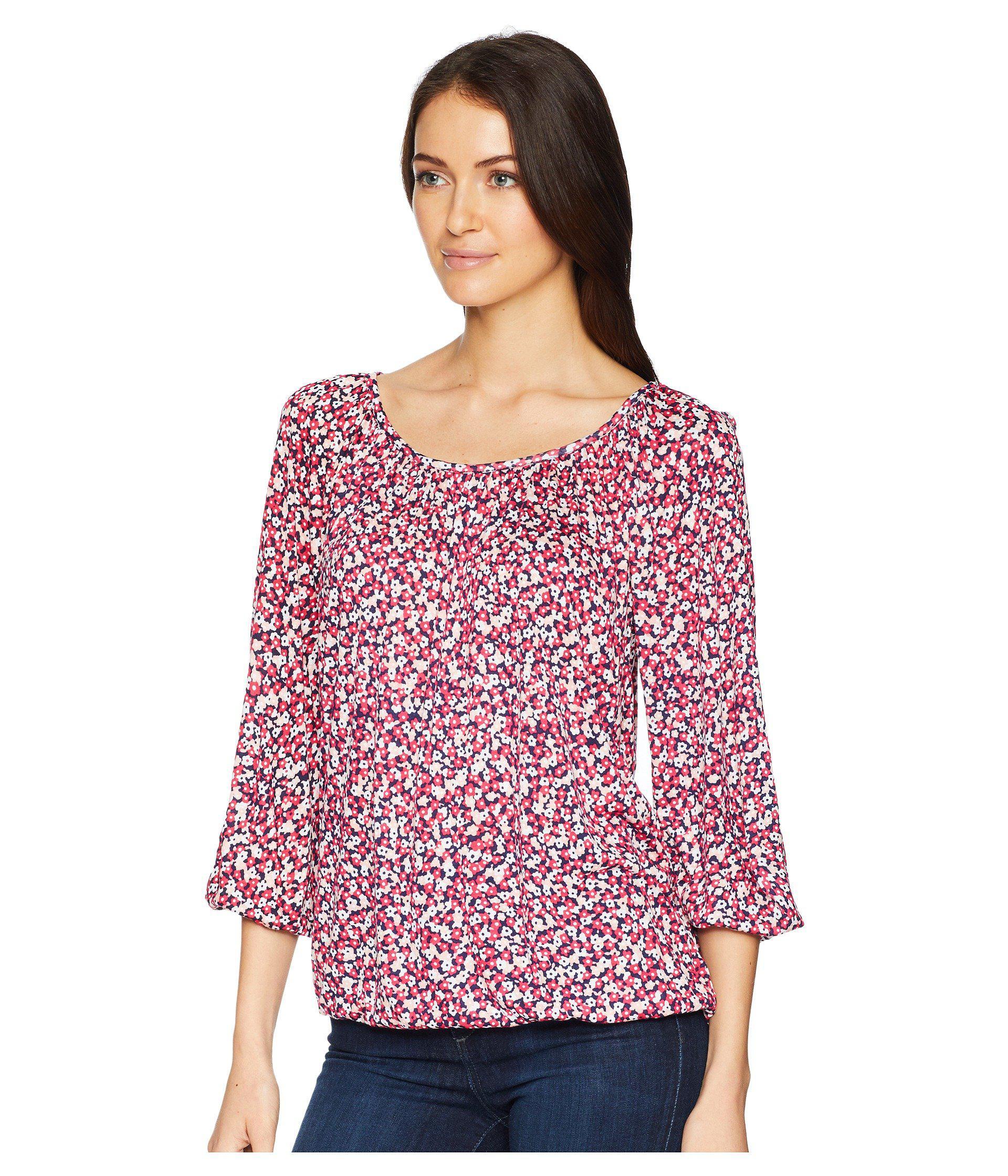 20bcdafa3971c Lyst - MICHAEL Michael Kors Collage Floral Peasant Top in Pink - Save 49%