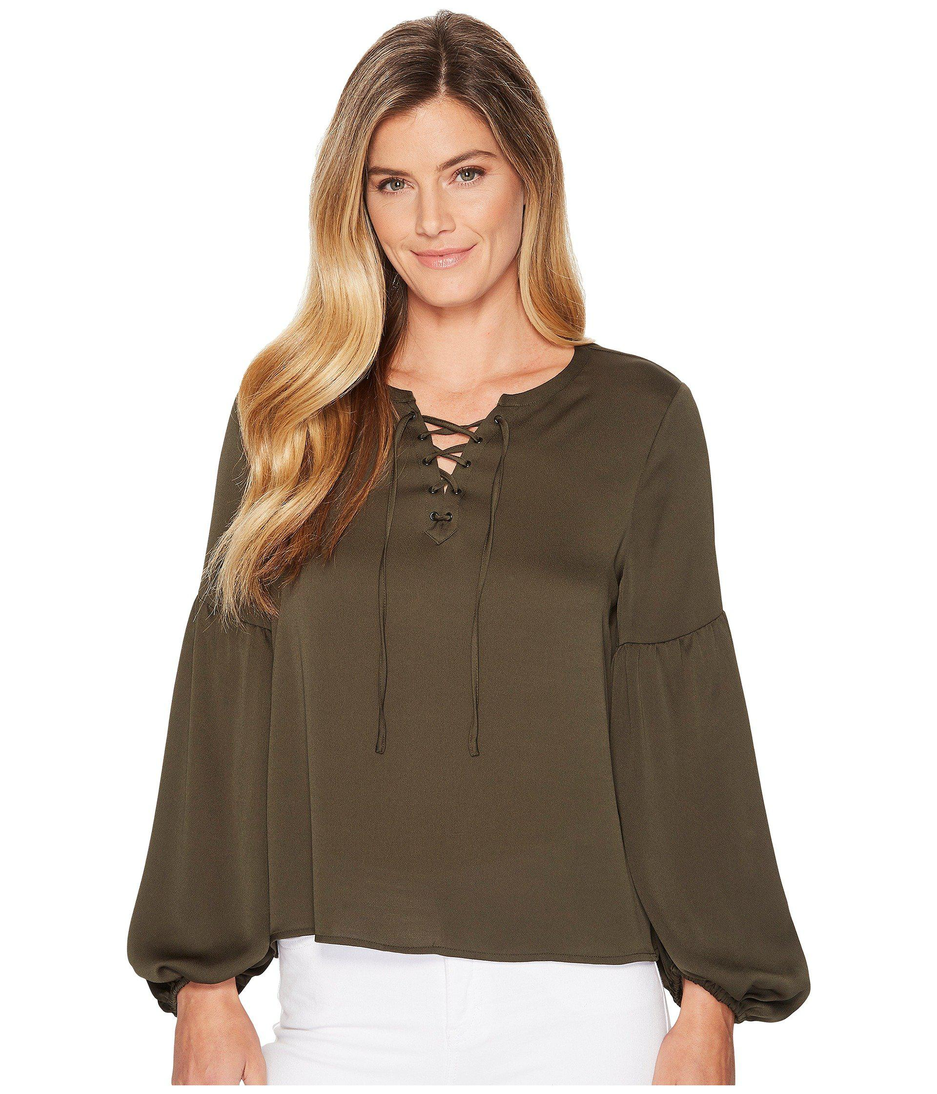Lyst - Vince Camuto Lace-up Bubble Sleeve Hammer Satin Blouse in ... a450106a3