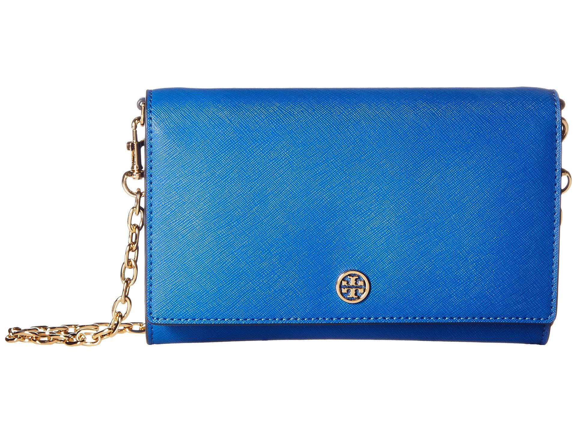 b9eb88292eba Lyst - Tory Burch Robinson Chain Wallet in Blue - Save 52%