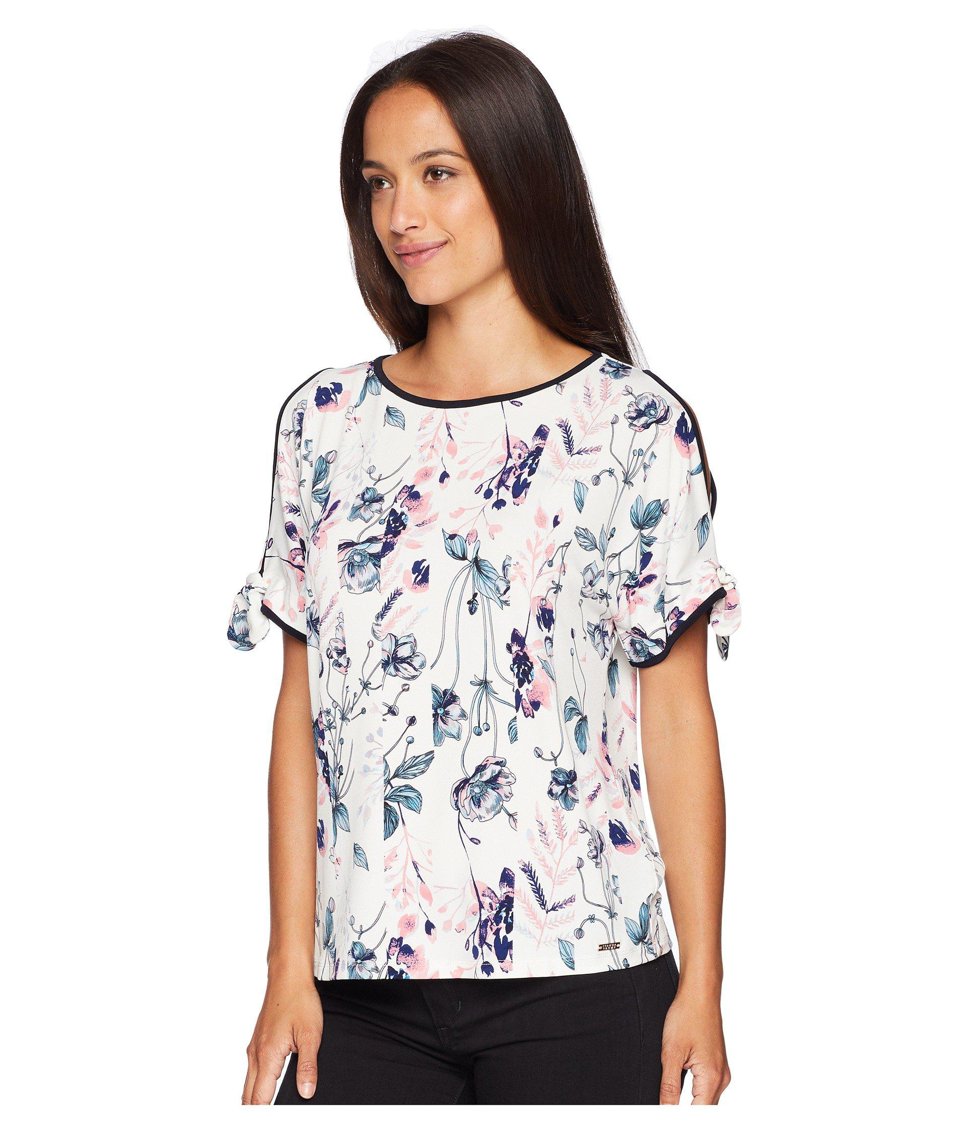 5dd720ac9000e Lyst - Ivanka Trump Printed Cold Shoulder Top With Open Hem in White - Save  19%