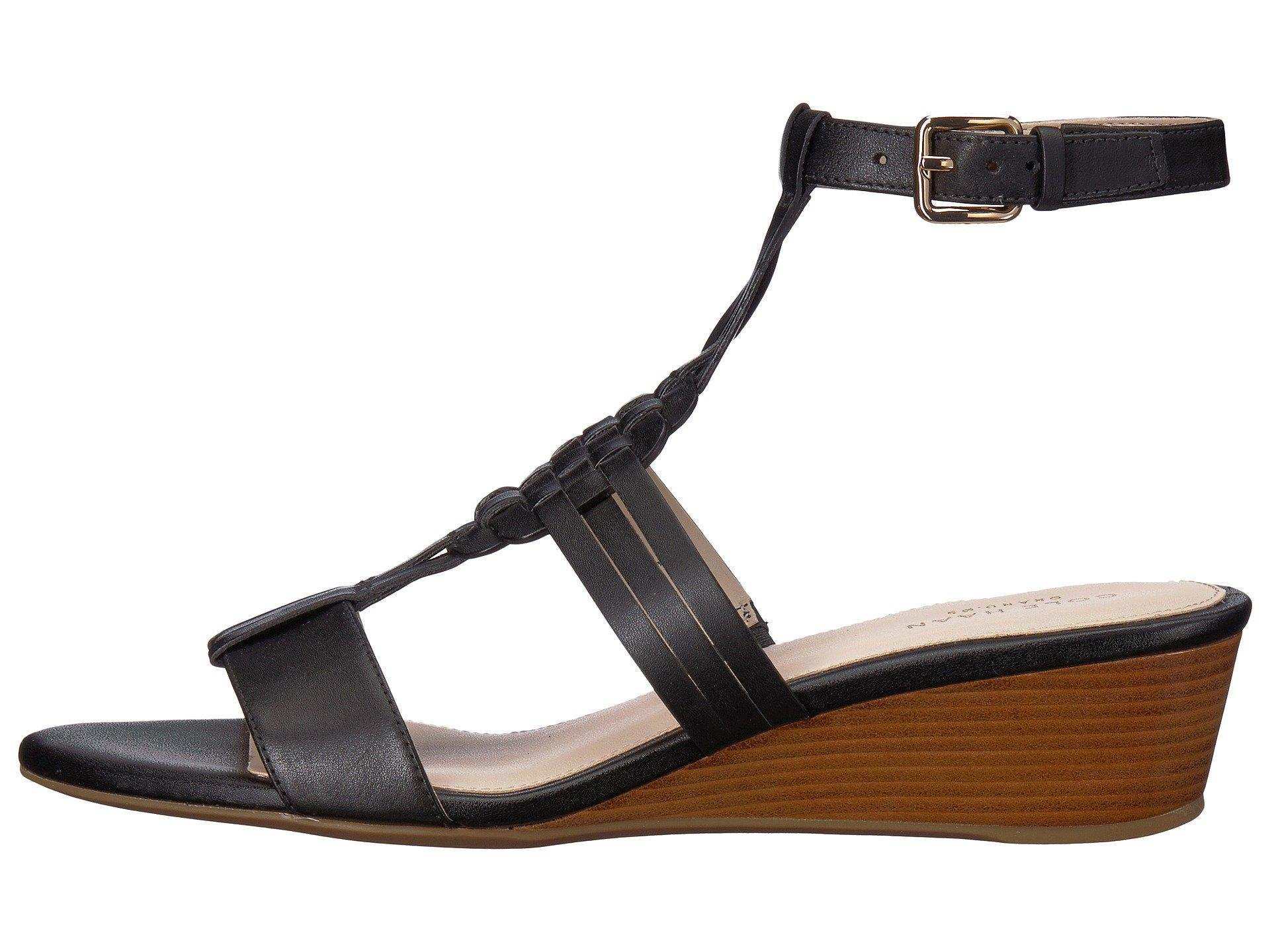 0ed5da82f681 Lyst - Cole Haan Findra Woven Slide Wedge Sandal in Black