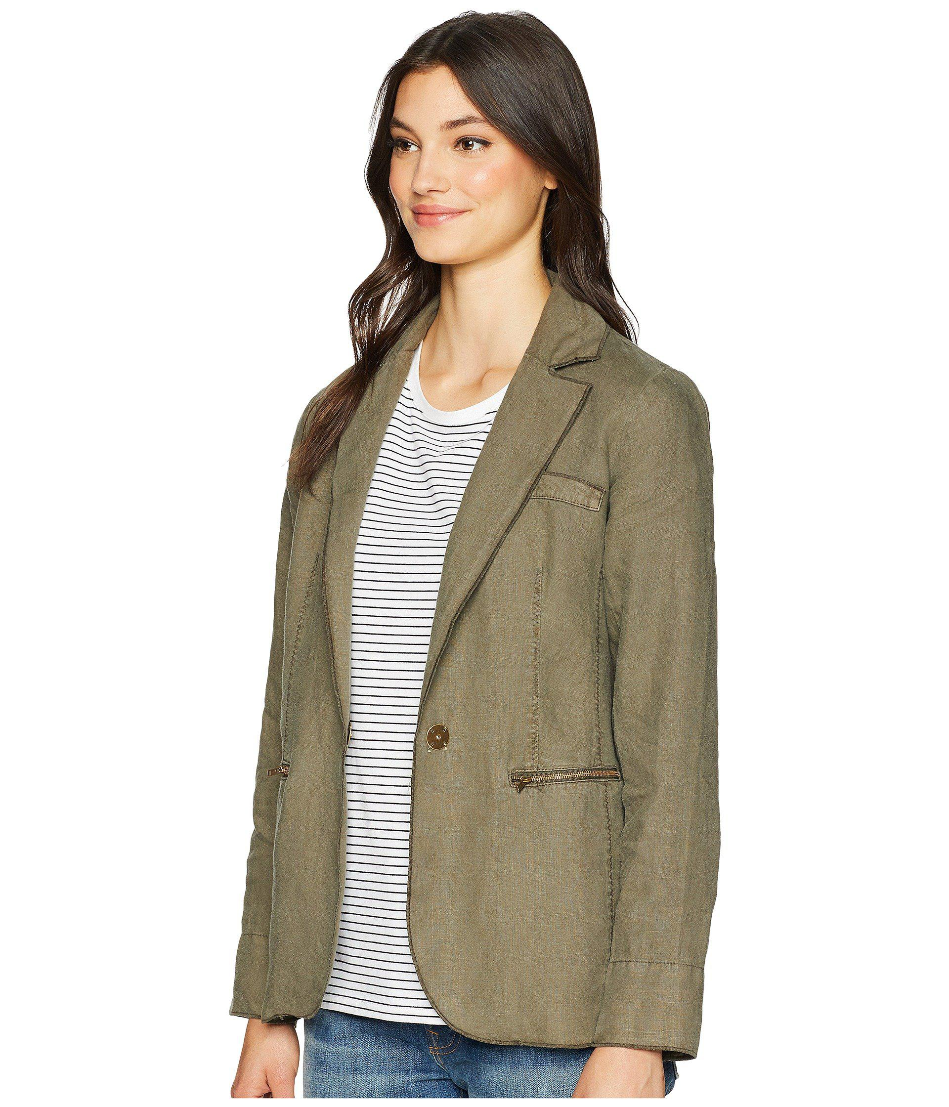 0b5ad0f6ce7 Lyst - Michael Stars Woven Linen Deconstructed Blazer in Green - Save 42%