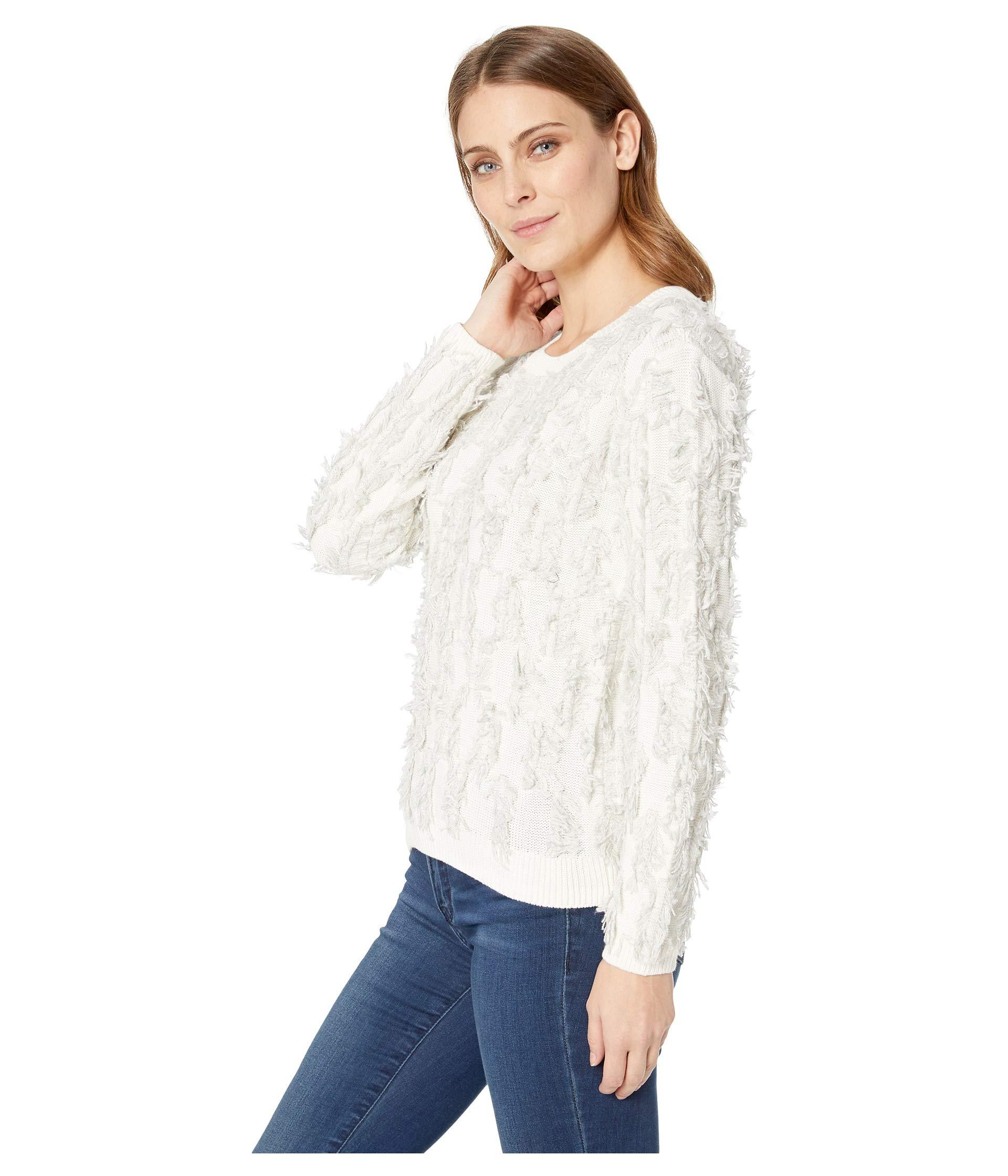 d5a579c40d23f Lyst - Two By Vince Camuto Long Sleeve Crew Neck Fringe Sweater in White