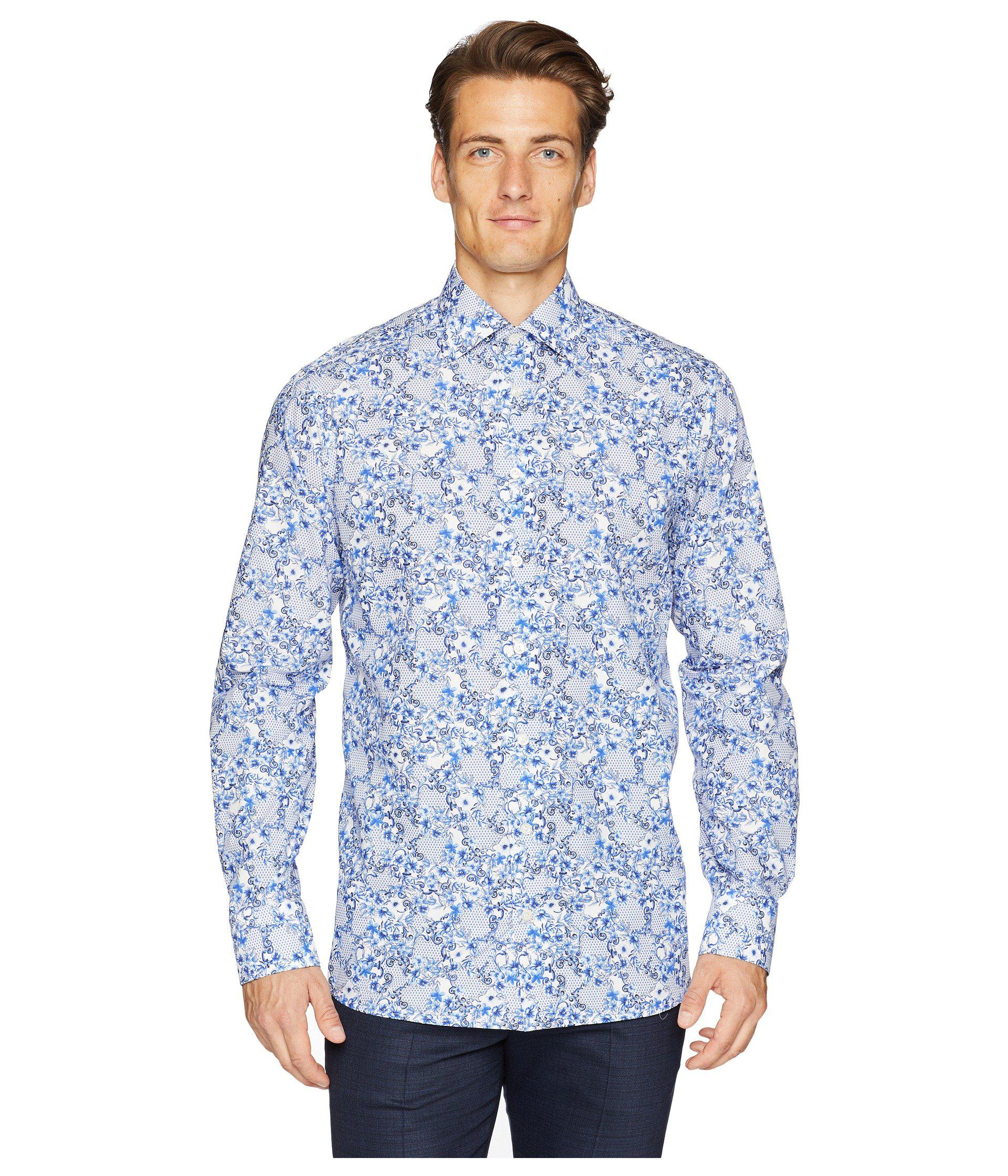 62c426823ac Lyst - Eton of Sweden Contemporary Fit Floral Printed Shirt in Blue ...