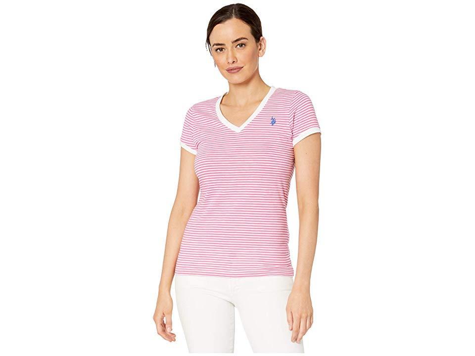 47ef425af759 U.S. POLO ASSN. Slub Striped V-neck Tee (shocking Pink) T Shirt in ...