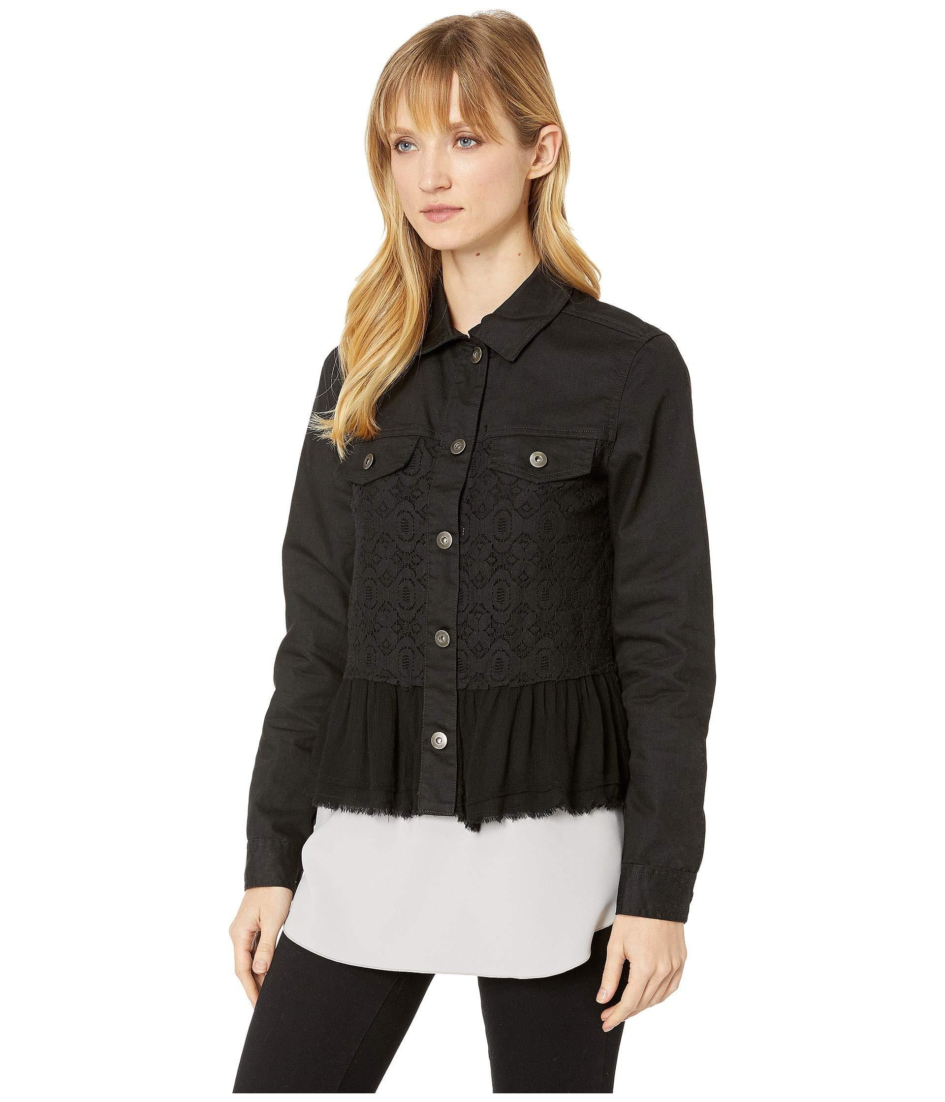 e09955b7ae122 Lyst - Scully Karter Denim And Lace Ruffle Jacket in Black - Save 7%