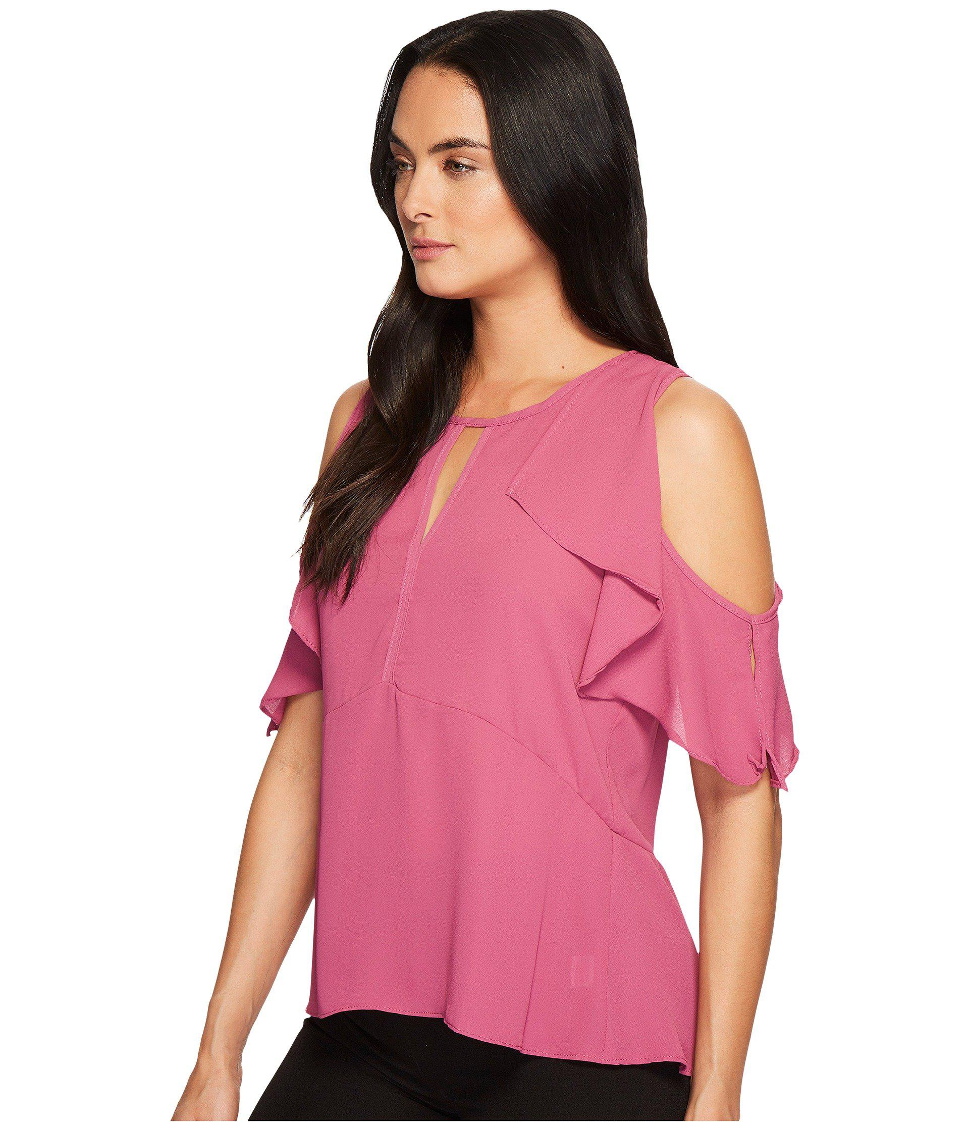 d0266aaa2310ae Lyst - B Collection By Bobeau Pamela Cold Shoulder Top in Pink - Save 66%