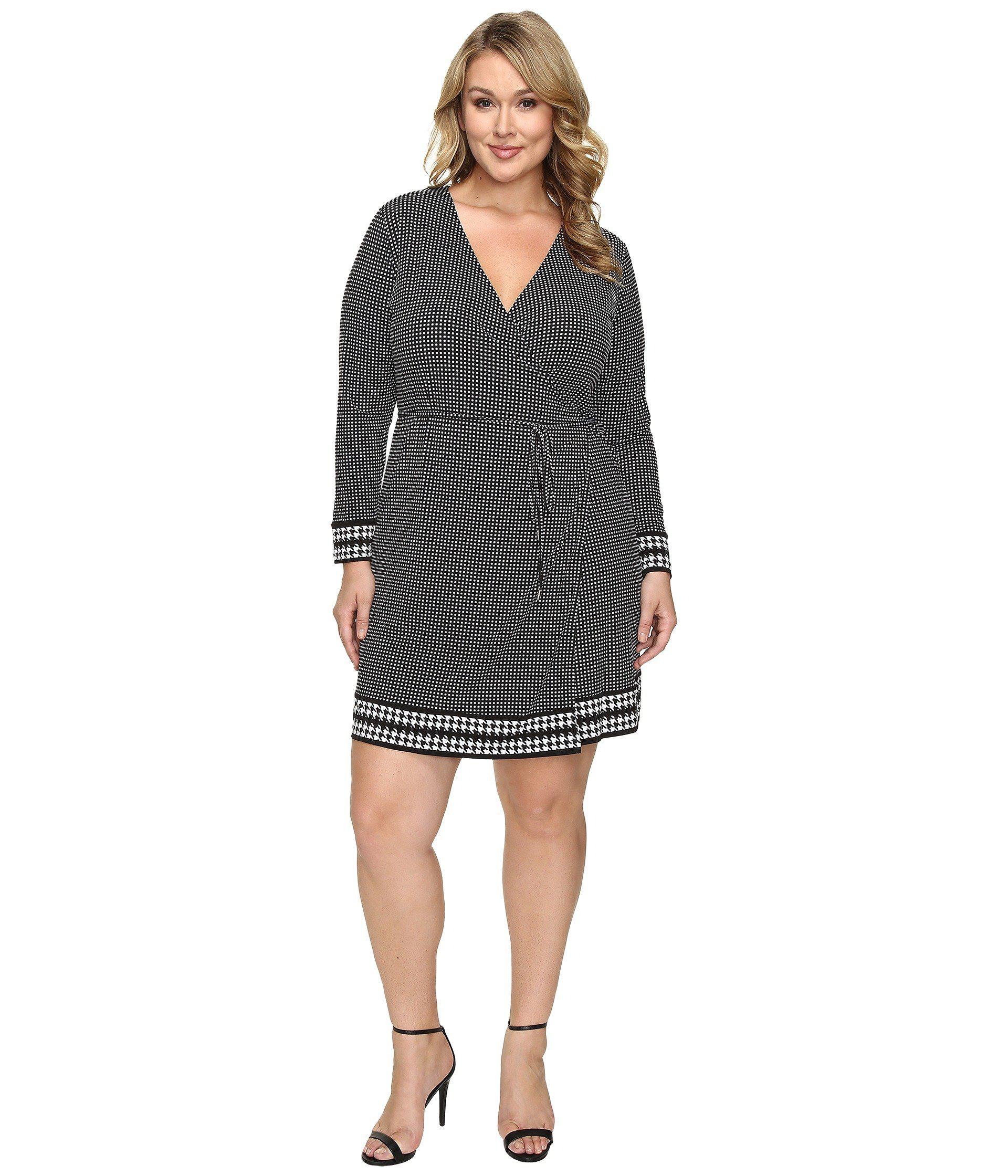 dd93402ec50 MICHAEL Michael Kors. Women s Black Plus Size Harget Border Wrap Dress