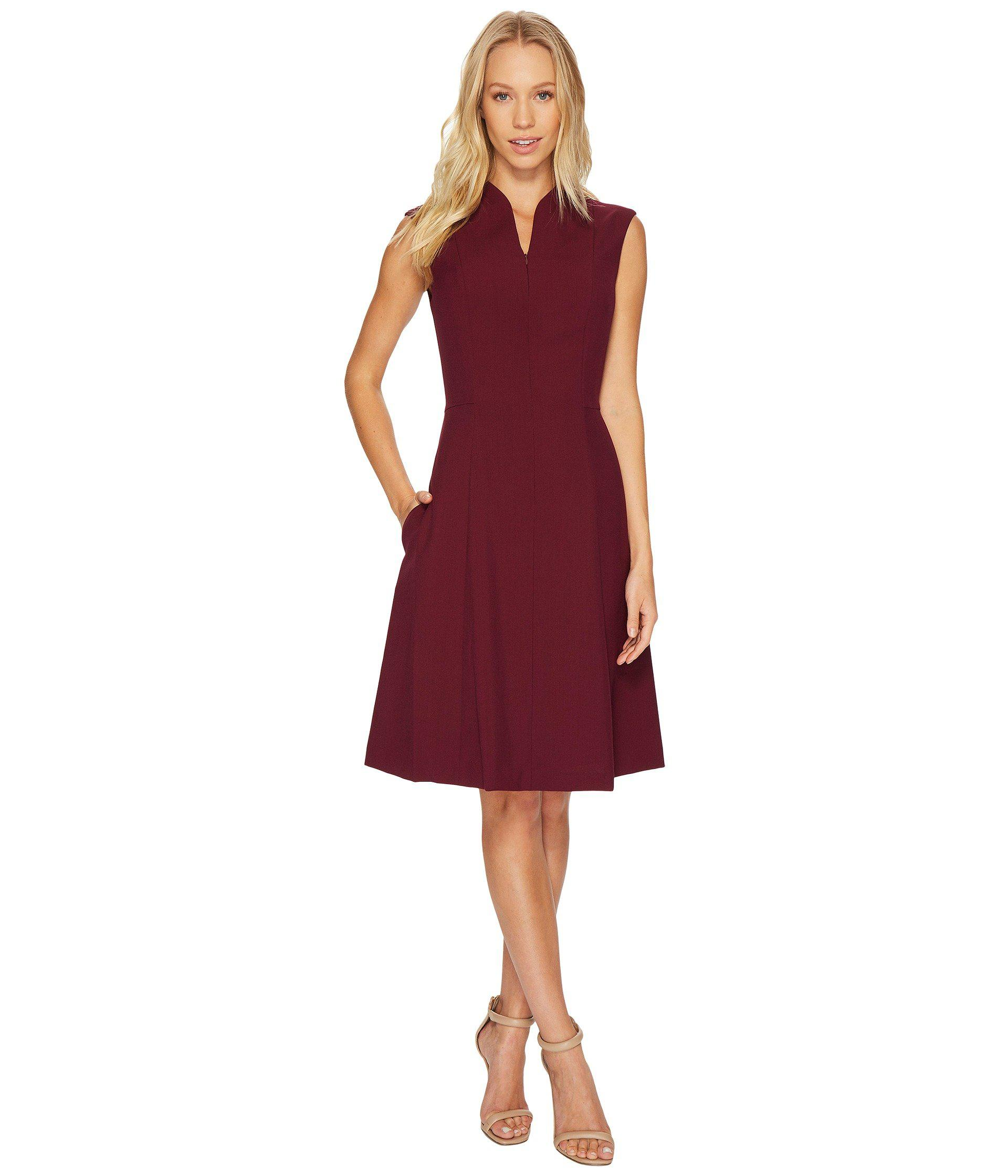 7f8b2b2e Ellen Tracy Solid A-line Dress With Front Zipper-merlot in Red - Lyst
