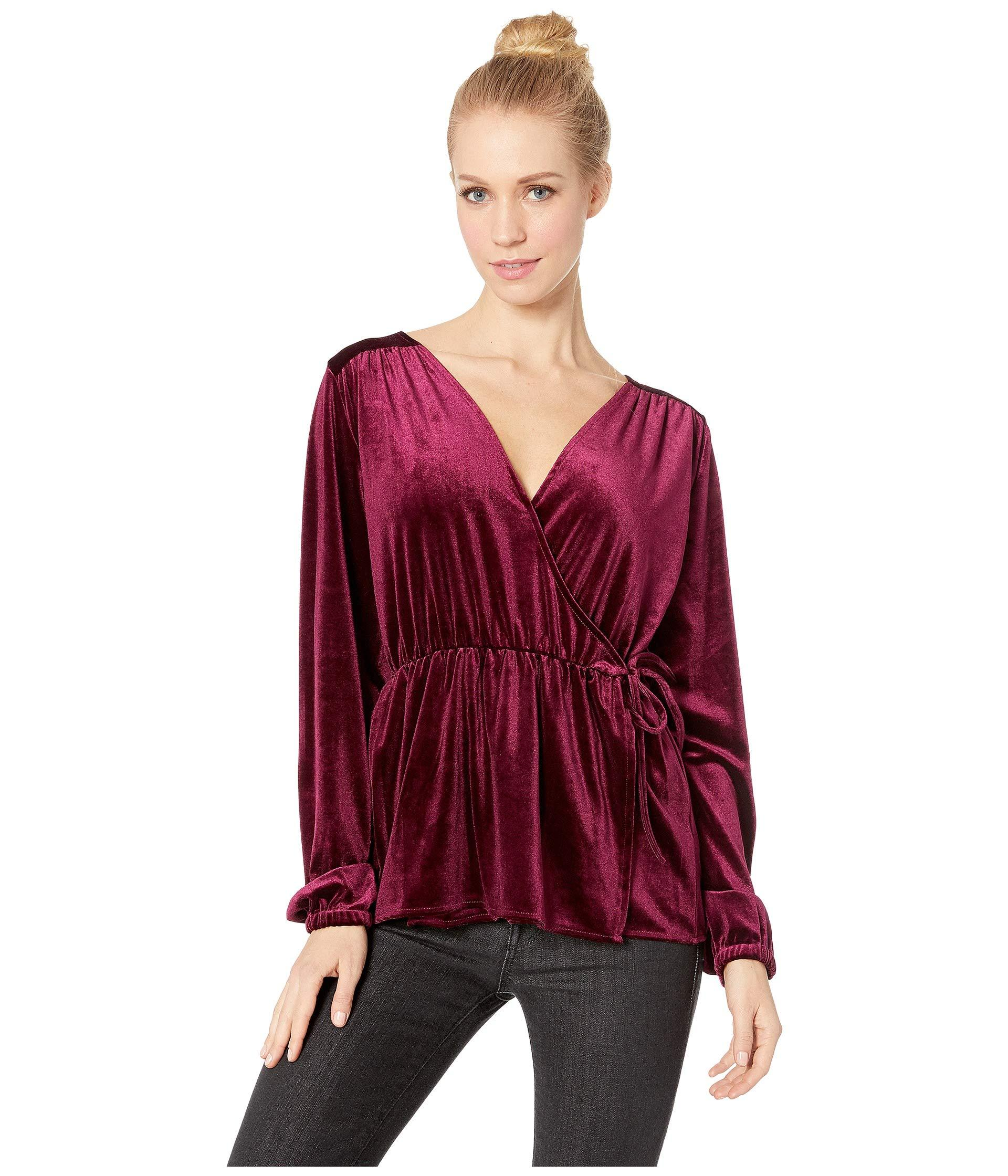 64b852f58e5e67 Lyst - Jack BB Dakota Hello M lady Velvet Peplum Top in Purple ...