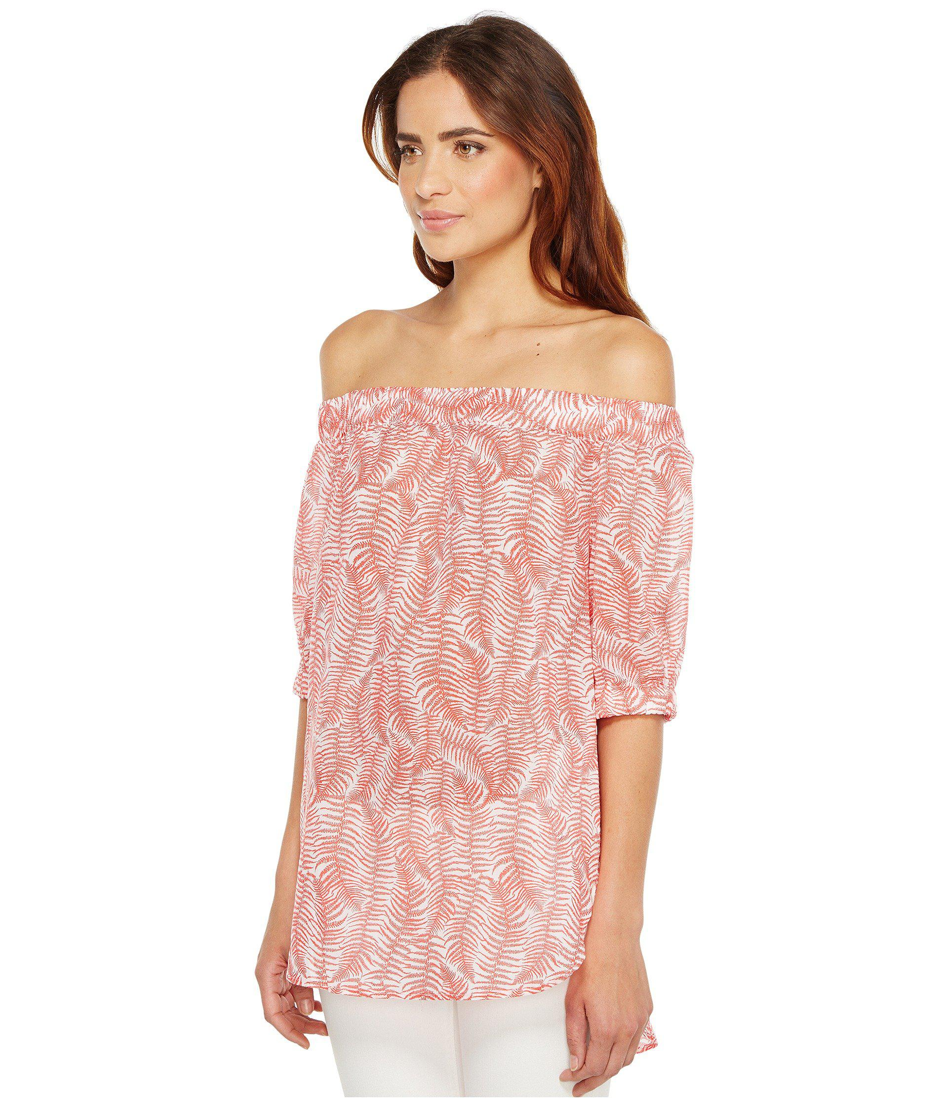 afc833f5045b8 Lyst - MICHAEL Michael Kors Pella Fern Off Shoulder Top in Pink