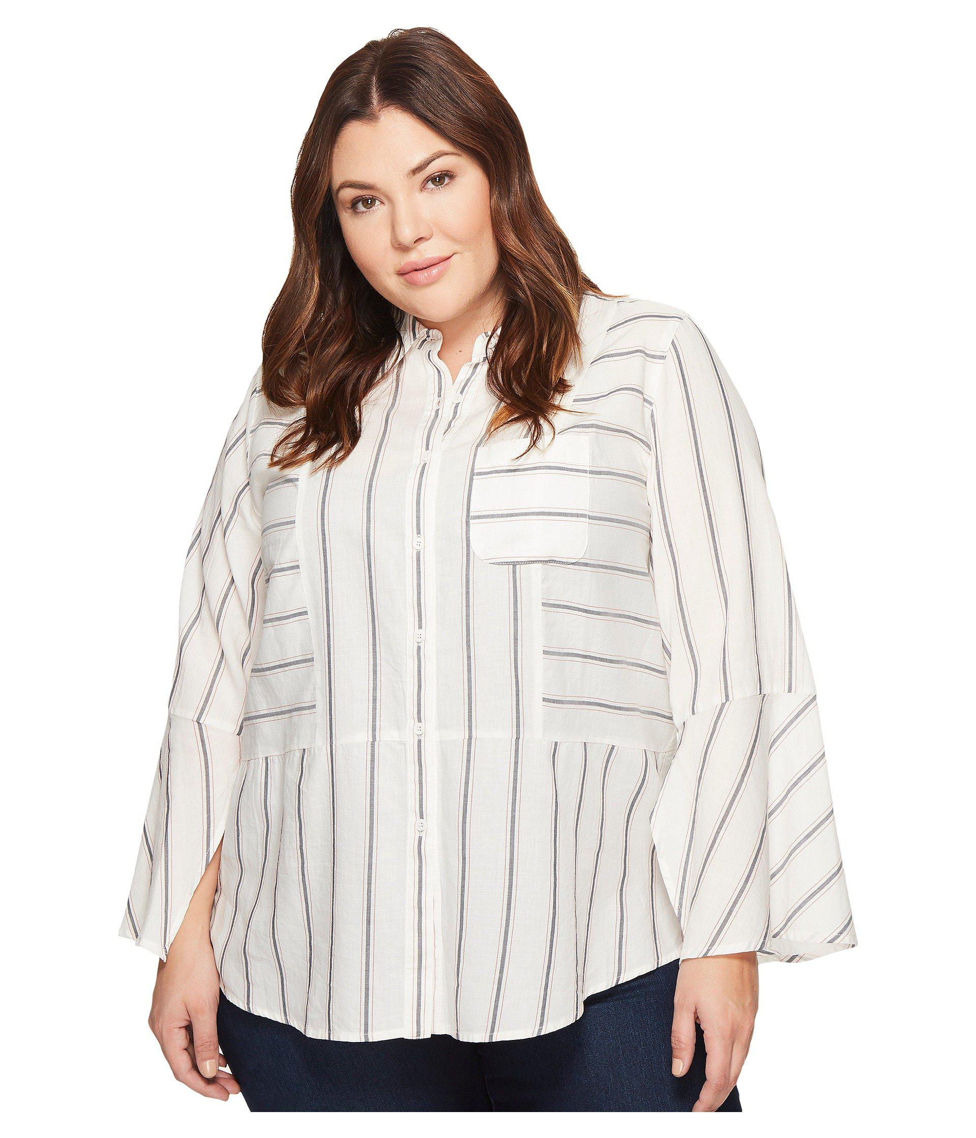 5119b061a5b Two By Vince Camuto. Women s White Plus Size Bell Sleeve Yarn-dye Stripe  Collared Shirt