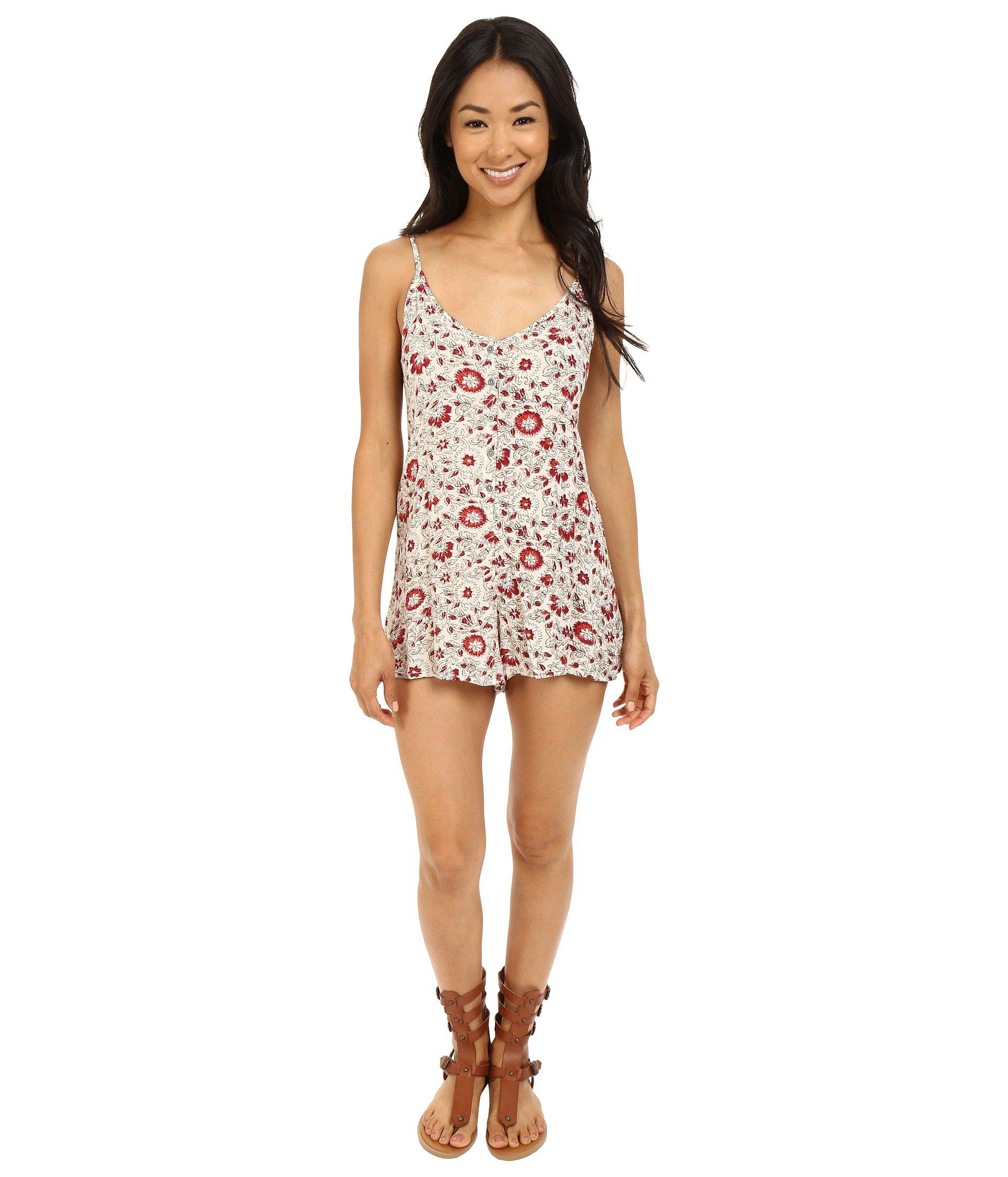 b19cd3f460c Lyst - Billabong Roaming Hearts Romper in White