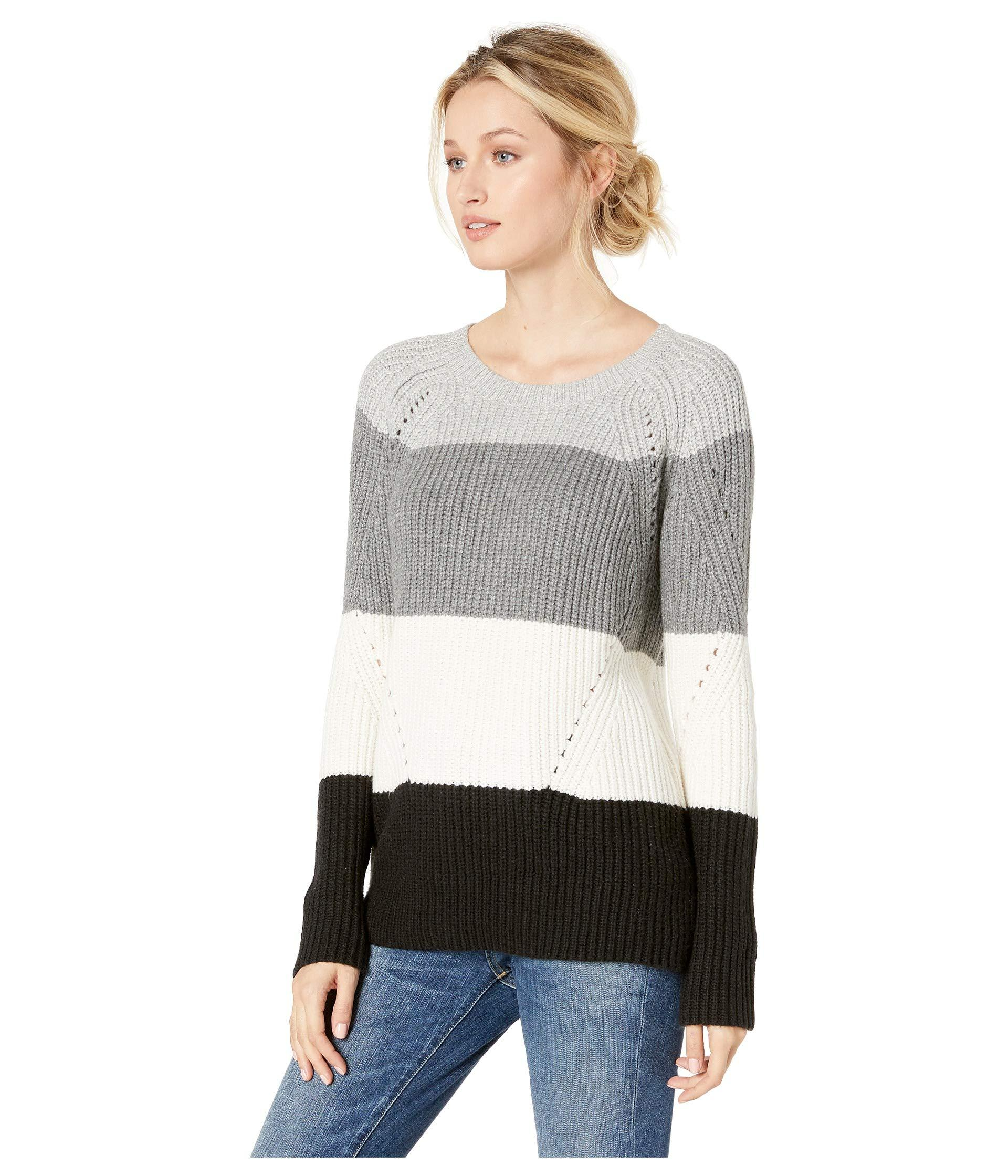 e193cd4eb1c Lyst - Lucky Brand Crew Neck Pointelle Sweater in Gray - Save 56%