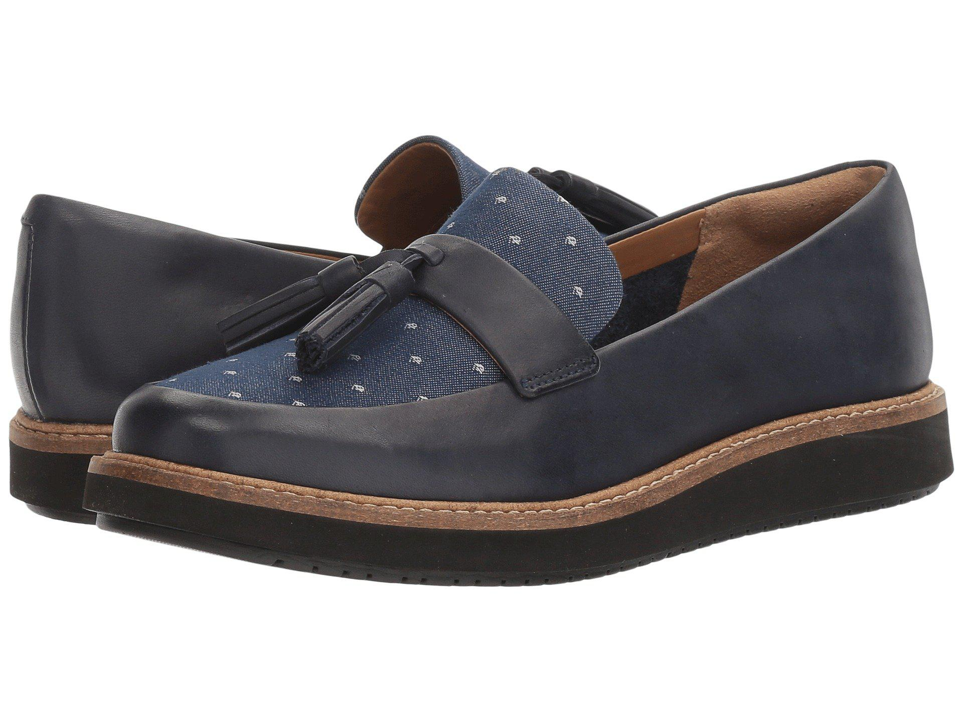Glick Clarks Blue Slip in Lyst on Castine Loafer 84TBTxHq
