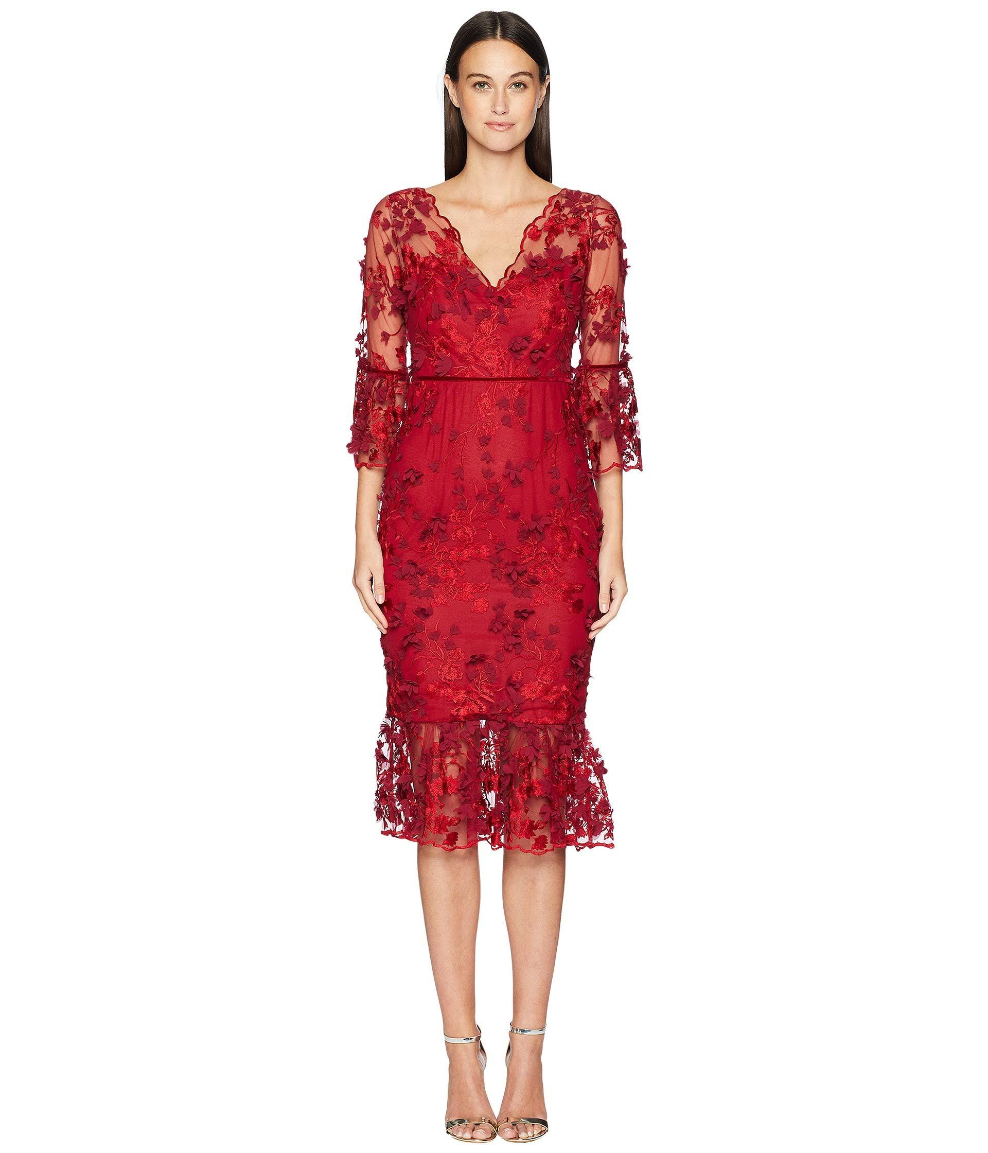 b8e59660b5b Marchesa notte 3 4 Sleeve Embroidered 3d Floral Dress in Red - Save ...