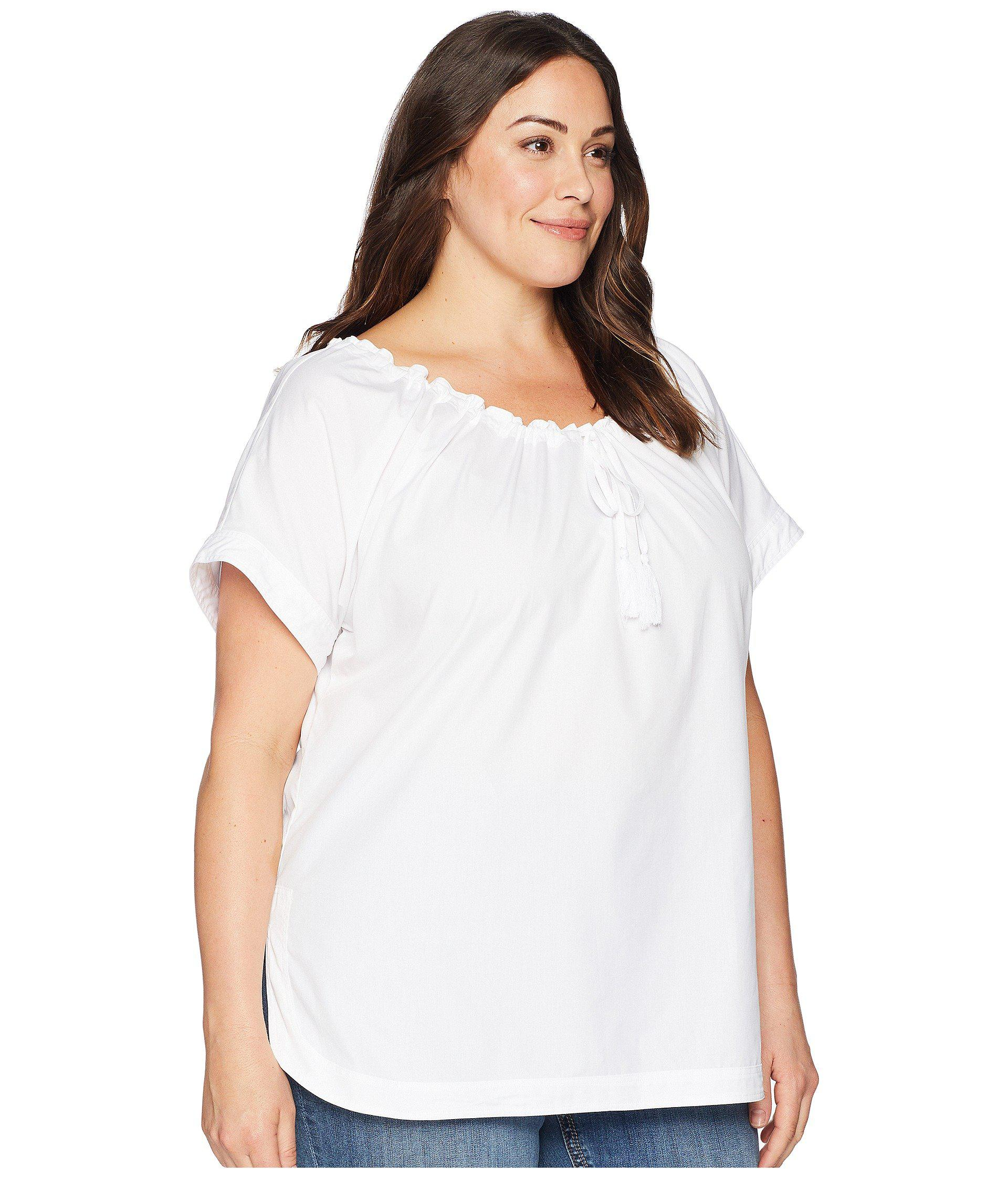 ab363a3c5fc Lauren by Ralph Lauren - White Plus Size 80s Cotton Broadcloth Short Sleeve  Shirt - Lyst. View fullscreen