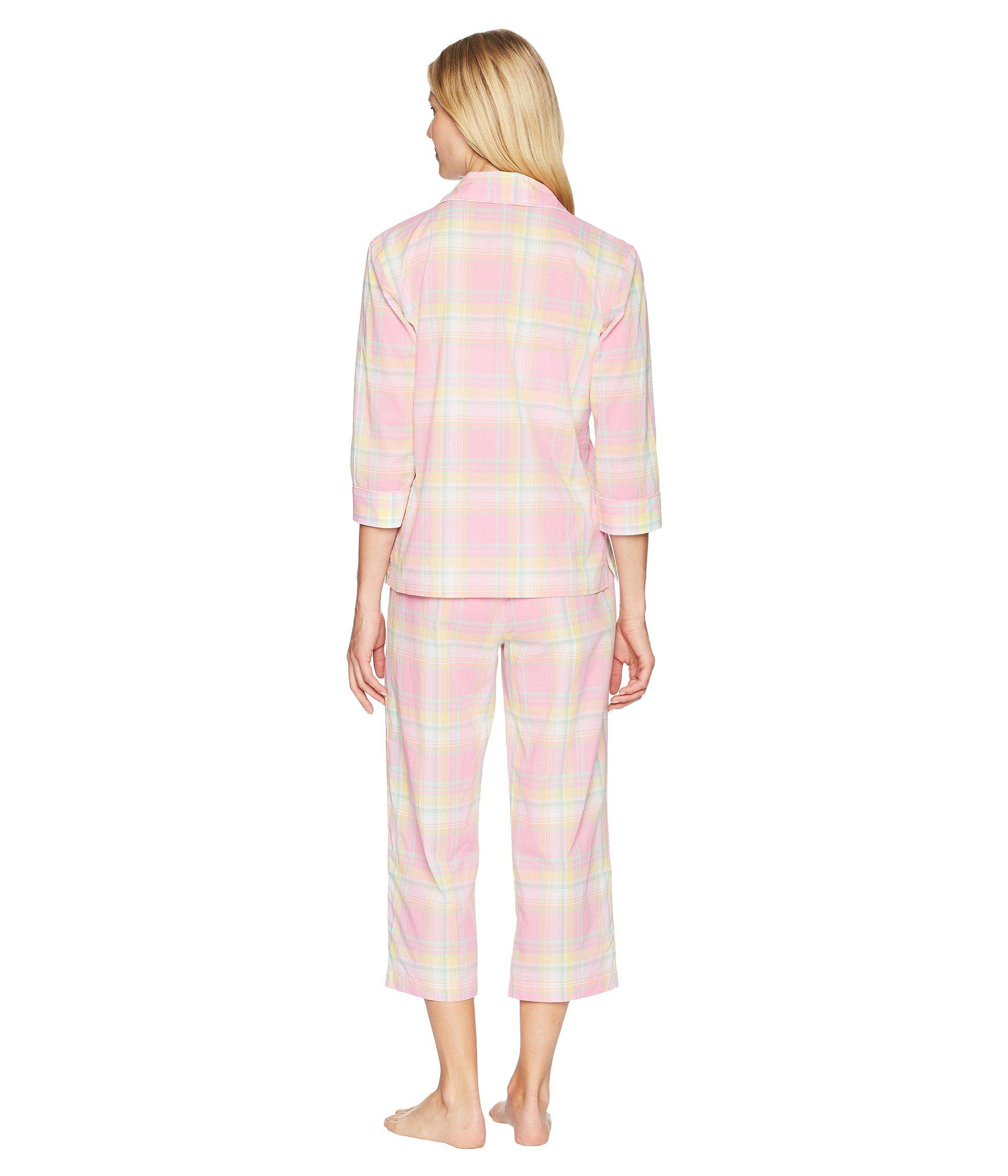 Lyst - Lauren by Ralph Lauren 3 4 Sleeve Notch Collar Capris Pajama ... 2bd6c2724c2