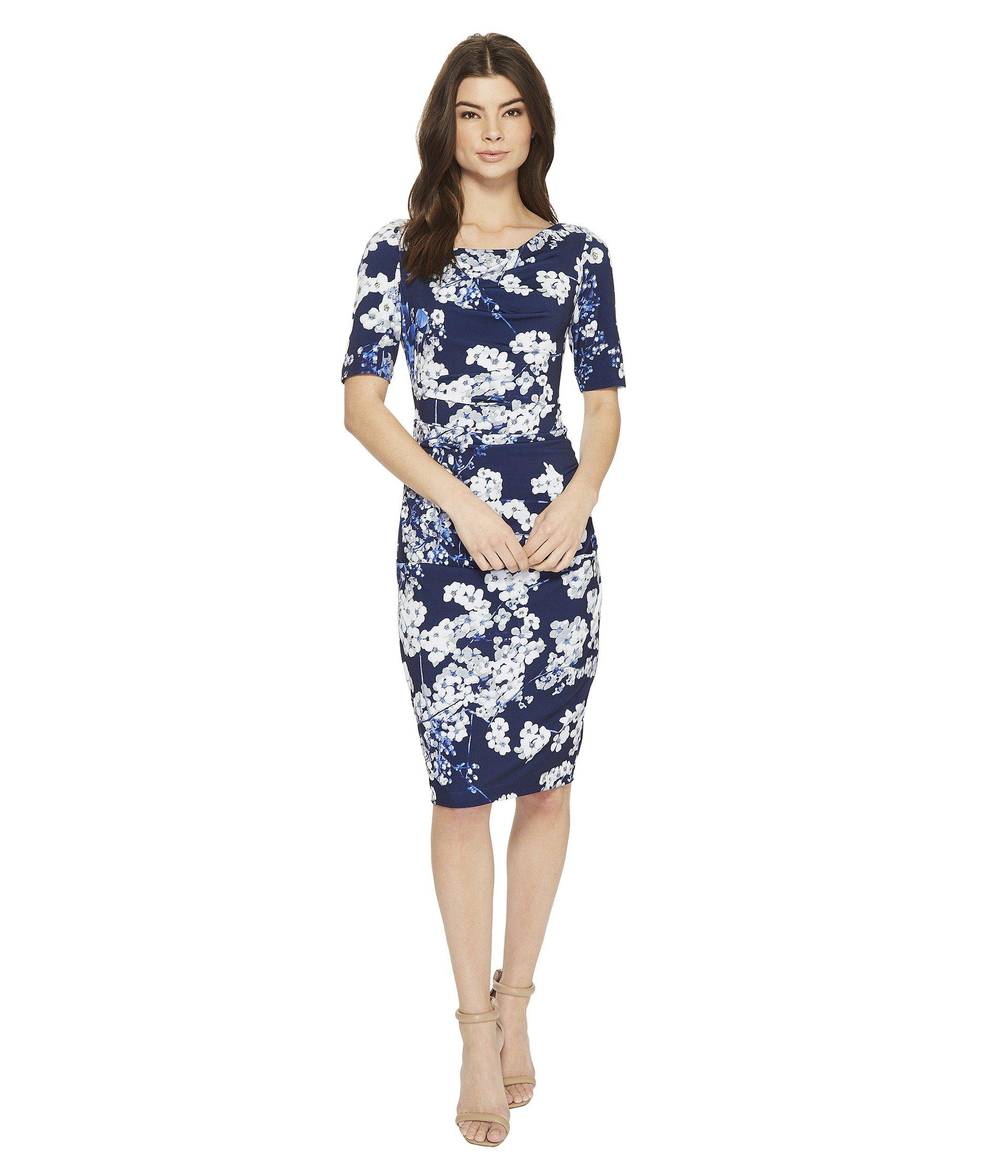 59cb475bddca Lyst - Adrianna Papell Watercolor Blossoms Printed Sheath Dress in ...