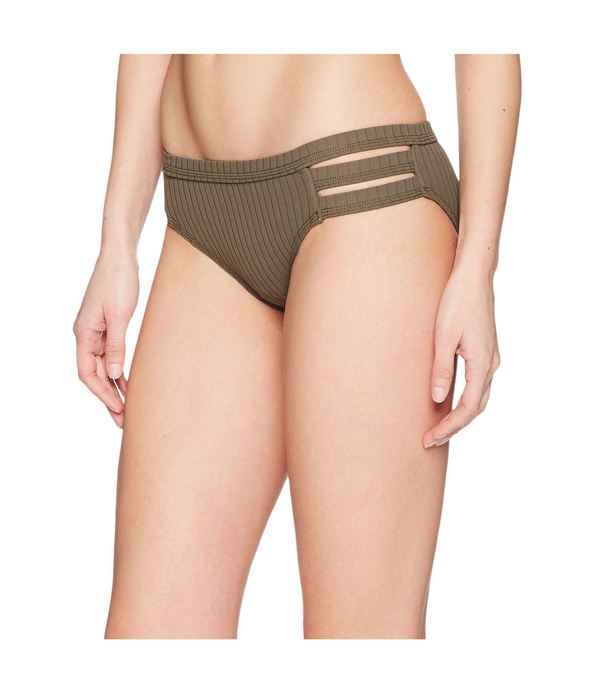 686ca9c9d46 Lyst - Seafolly Inka Rib Multi Strap Hipster Bottoms in Green - Save 2%