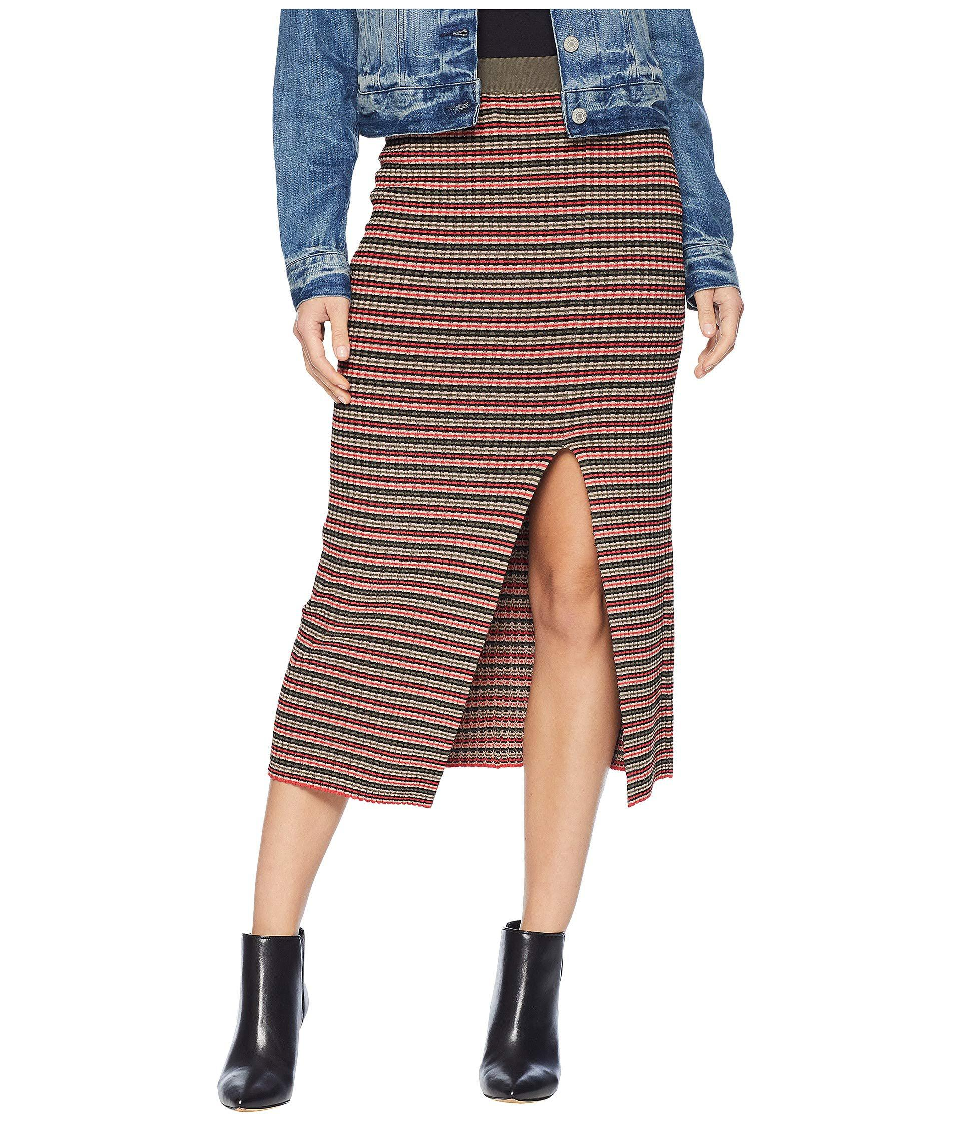 bb0102fdab Lyst - BCBGMAXAZRIA Multicolor Stripe Rib High-waist Pencil Skirt in ...