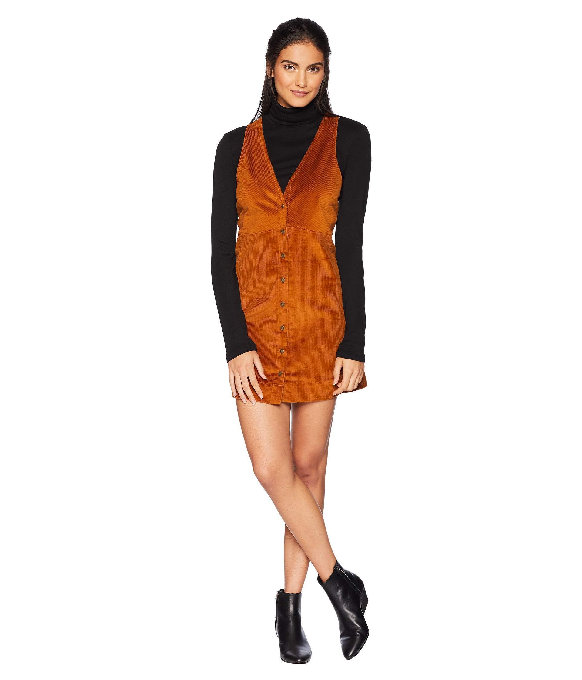 f4ac60fecd Free People Rolling Thunder Cord Mini Dress in Orange - Lyst