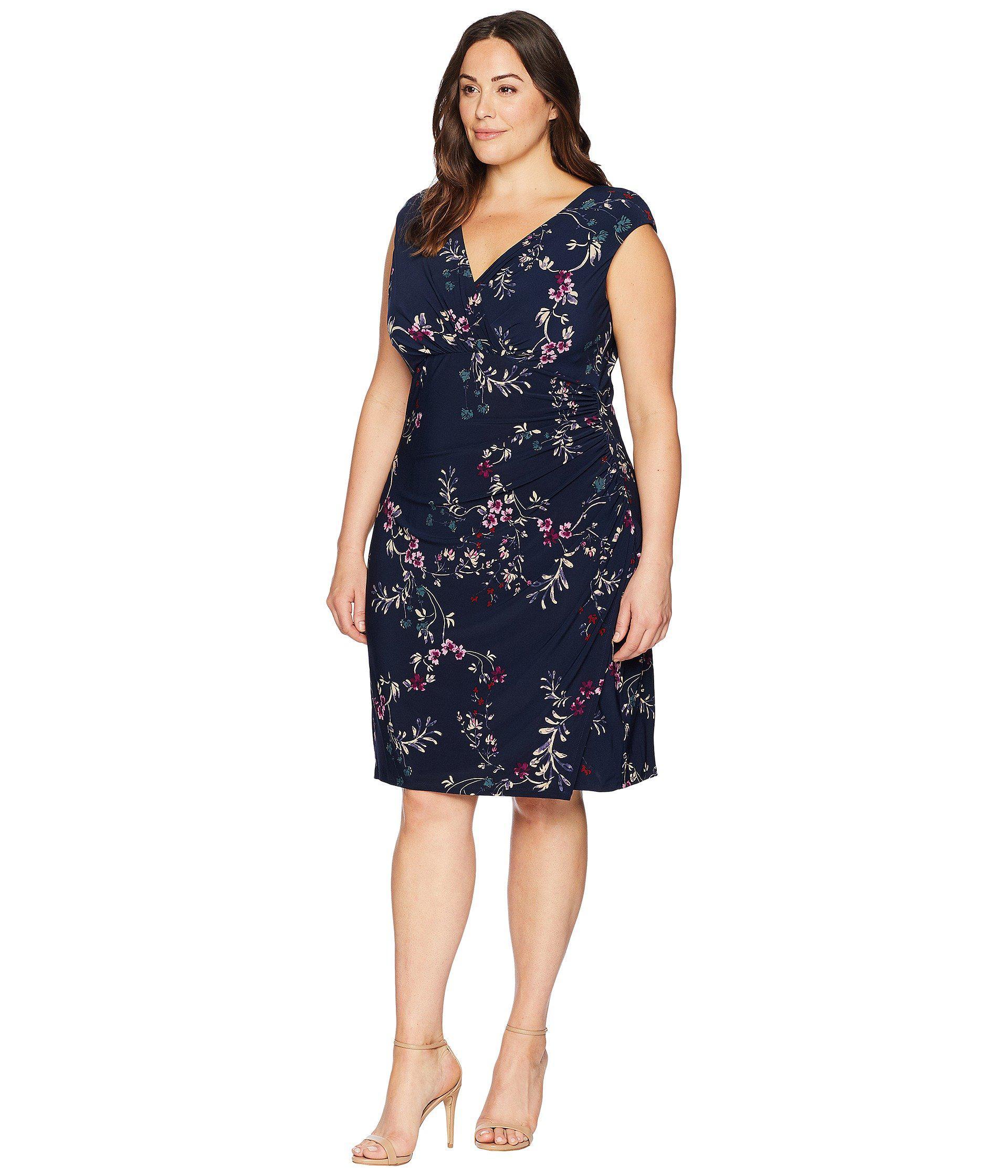 edcf8477 Lauren by Ralph Lauren Plus Size Adara Avendida Floral in Blue - Save 43% -  Lyst