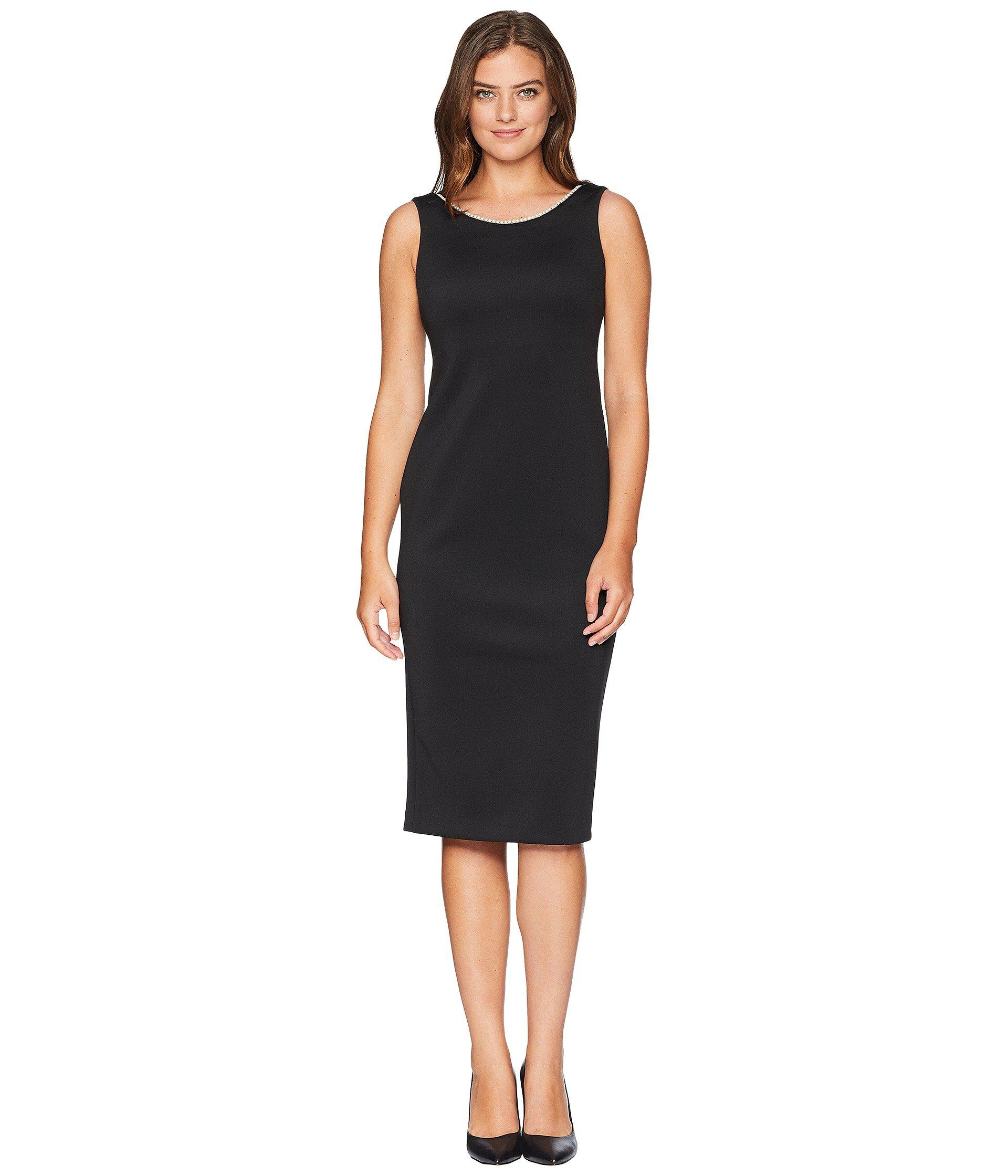Calvin Klein Women S Black Sheath Dress With Pearl Detail Cd8m19nd