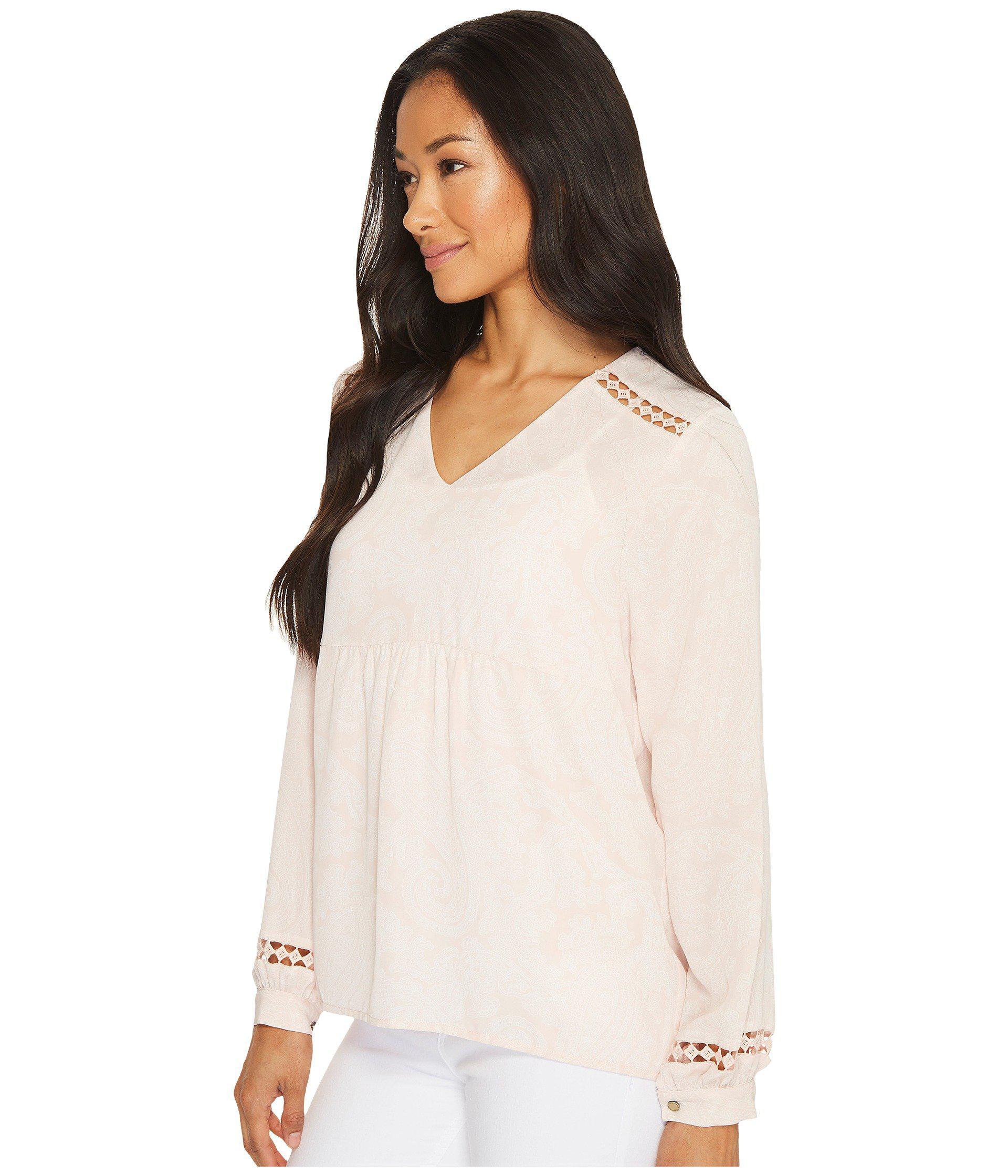 324c56158297d Lyst - Ivanka Trump Georgette Long Sleeve Blouse - Save 13%