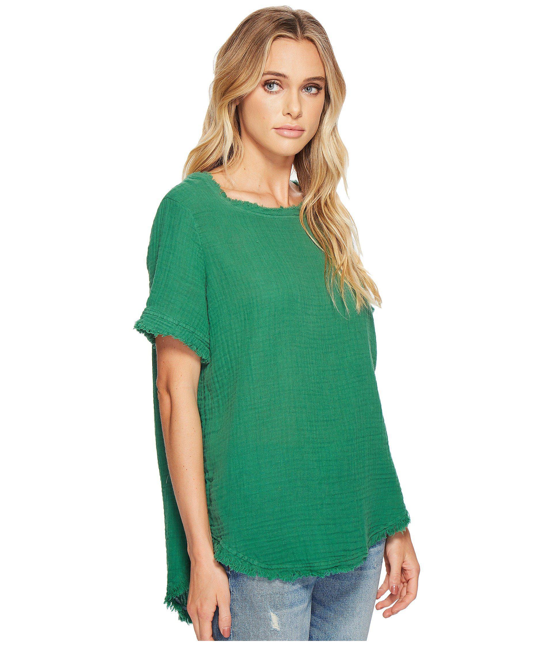 99320e6fcf27f Michael Stars - Green Double Gauze Short Sleeve Raw Edge Tee - Lyst. View  fullscreen