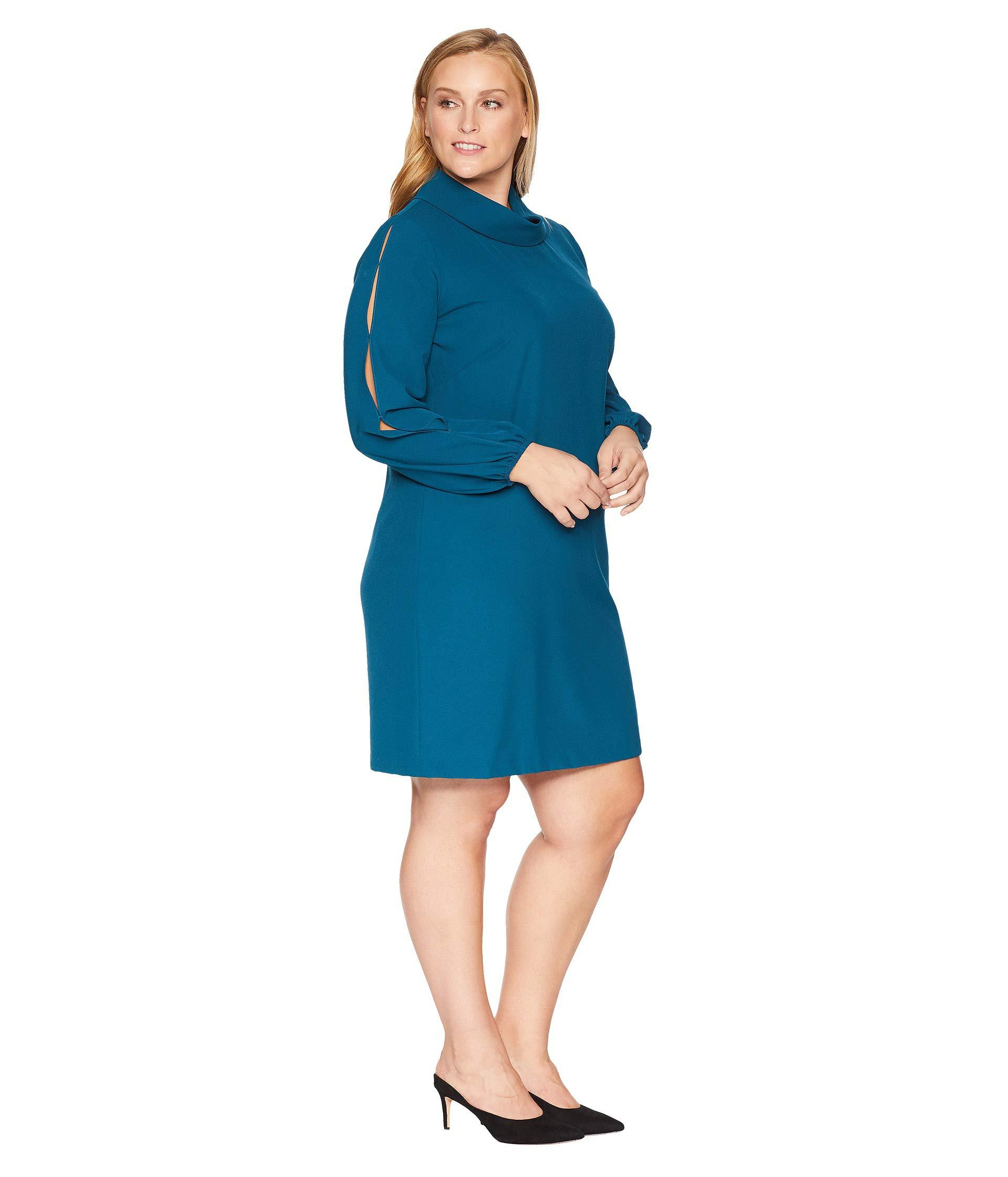57f2f876d5133 Tahari - Blue Plus Size Long Split Sleeve Crepe Shift With Roll Neckline -  Lyst. View fullscreen