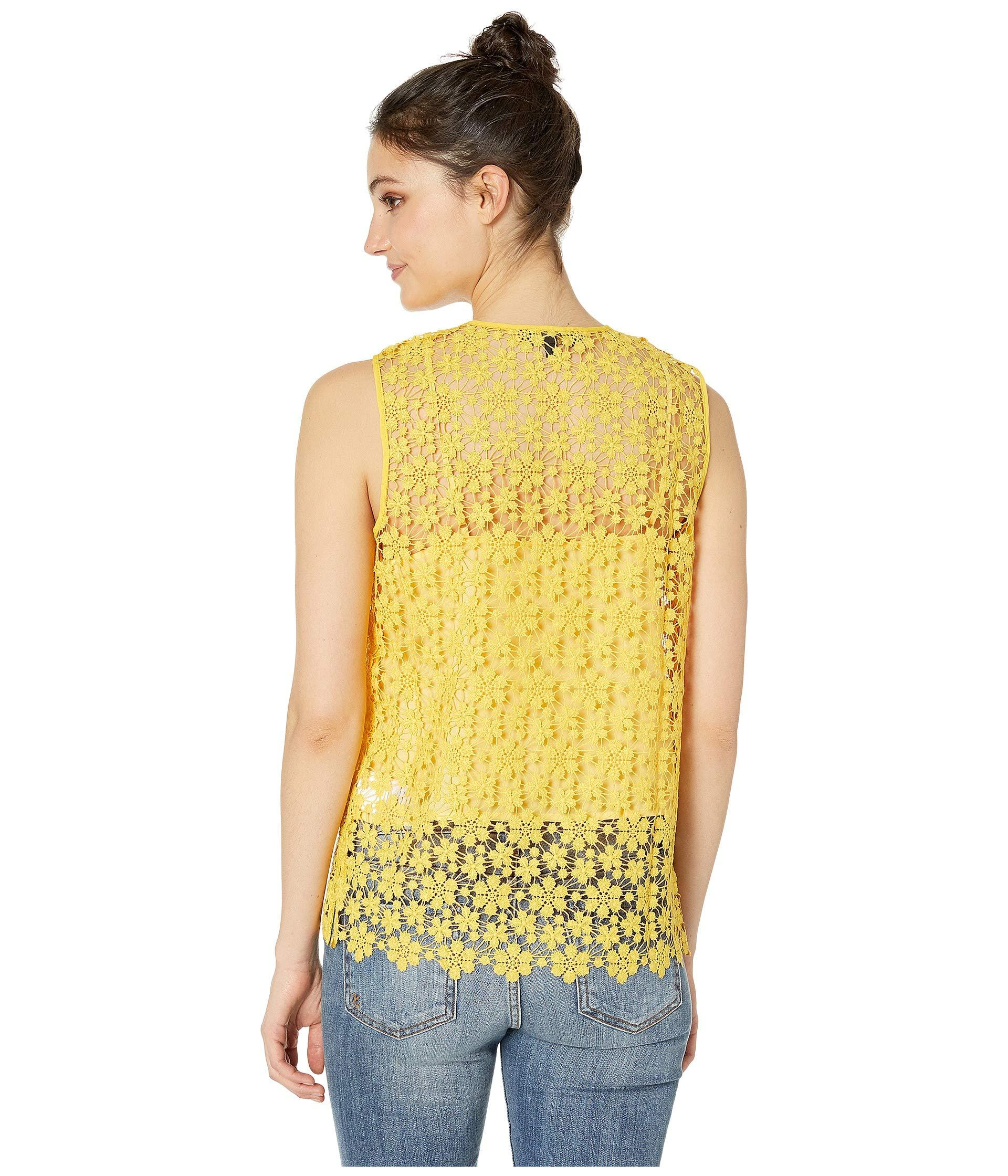 0bf7f36c884ad Juicy Couture - Yellow Lydia Guipure Lace Sleeveless Top - Lyst. View  fullscreen