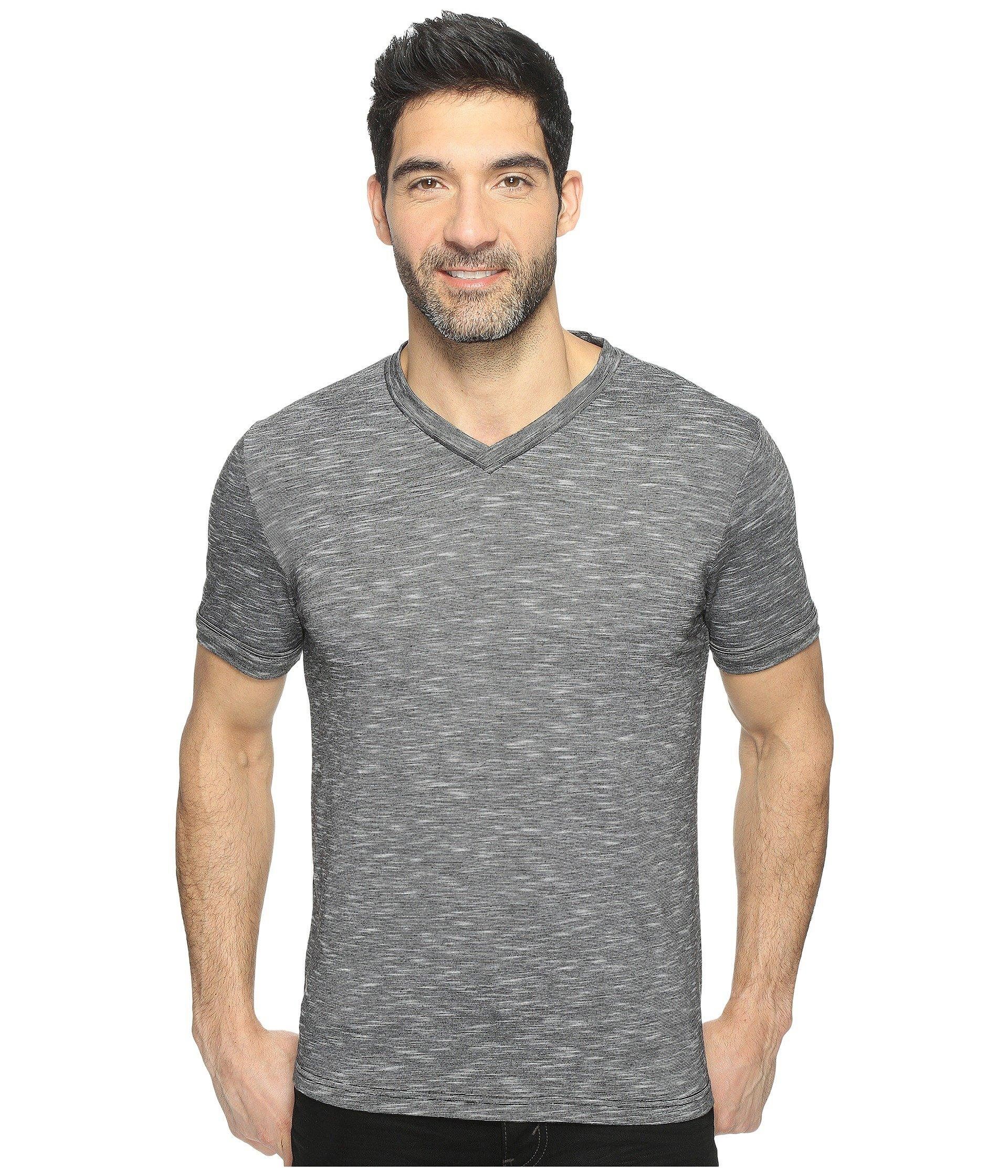 a9ae2561fc Lyst - Perry Ellis Texture Slub V-neck Tee Shirt in Black for Men