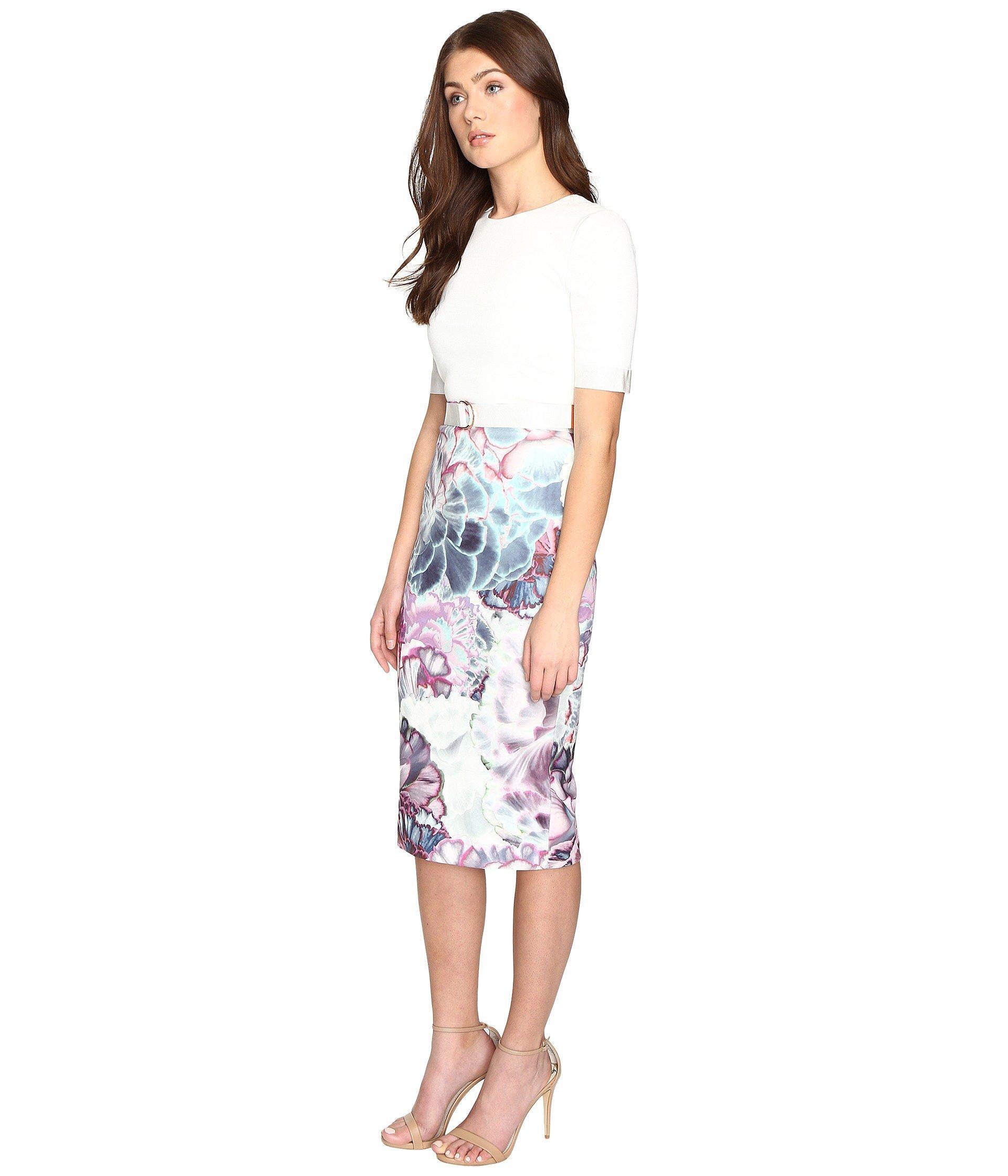 8eb7f25b Ted Baker Stephie Illuminated Bloom Contrast Dress - Lyst