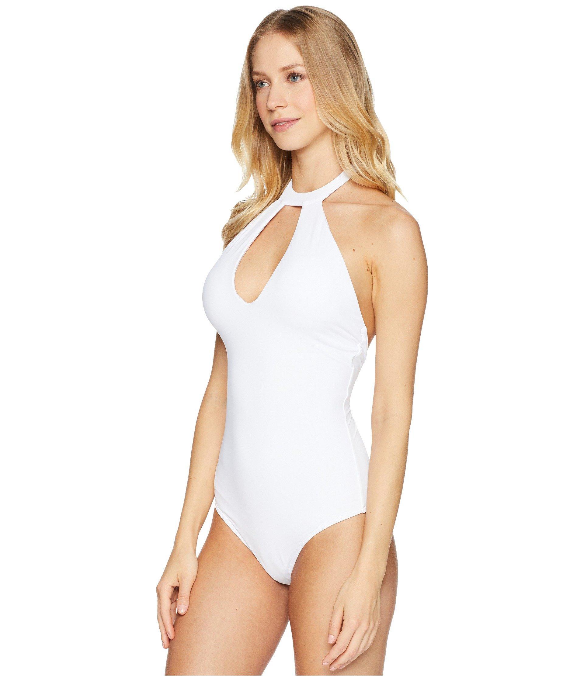 2ef6d887a66b0 Lyst - O'neill Sportswear Salt Water Solids Hi-neck One-piece in White -  Save 15%